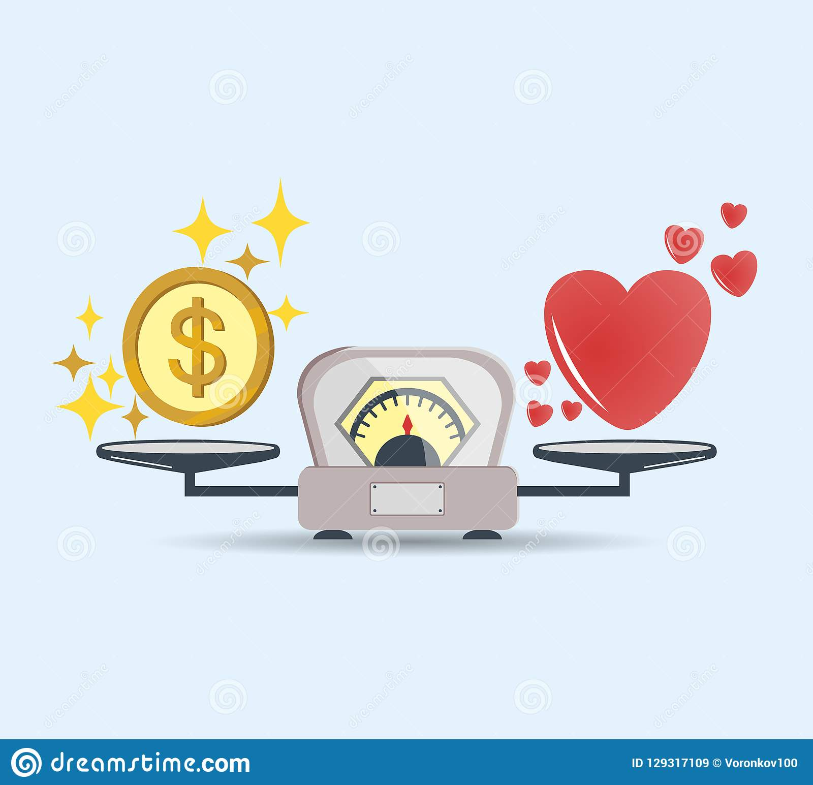 Heart and money for scales icon. Balance of money and love in scale. Concept of choice. Scales with love and money coins. Vector.