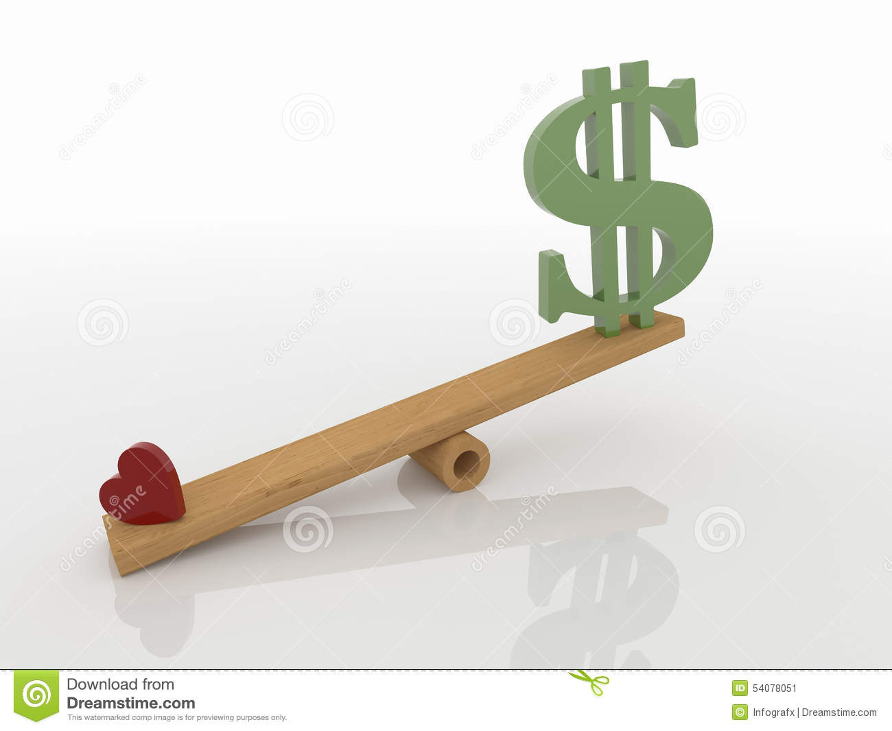 Heart and money on seesaw love concept stock illustration for Seesaw plans designs