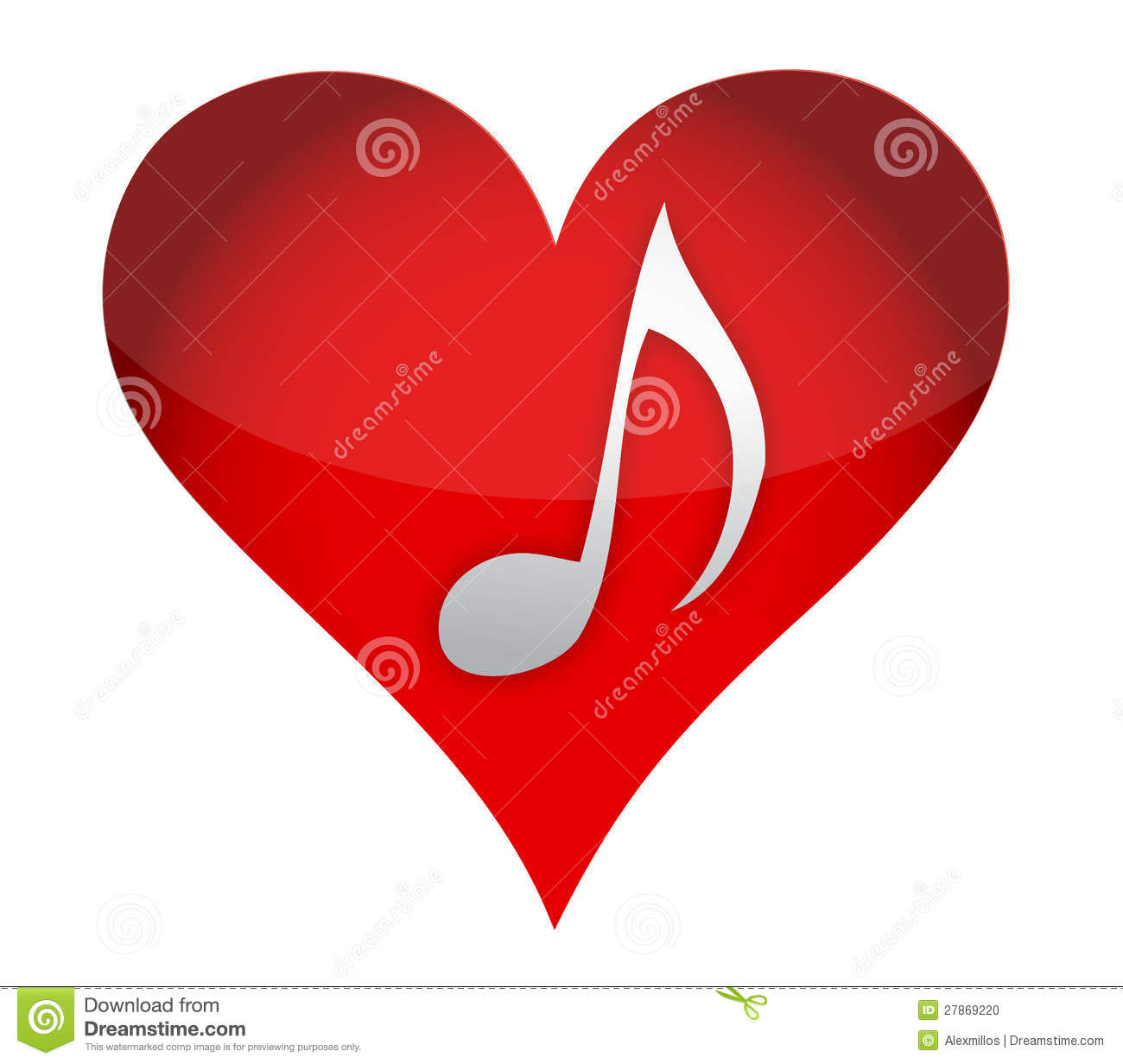 Heart in music illustration design over a white background.