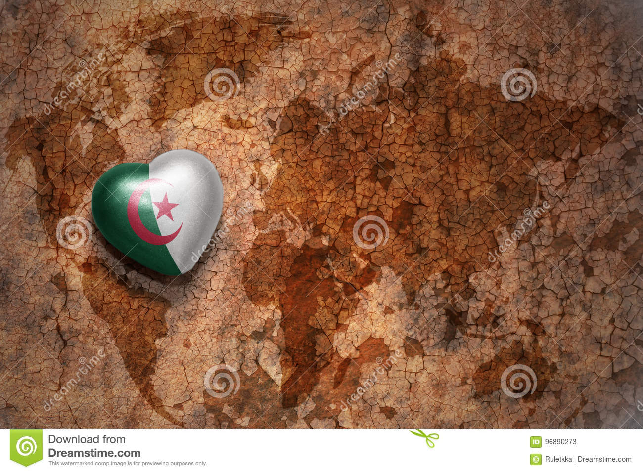 Heart With National Flag Of Algeria On A Vintage World Map Crack ...
