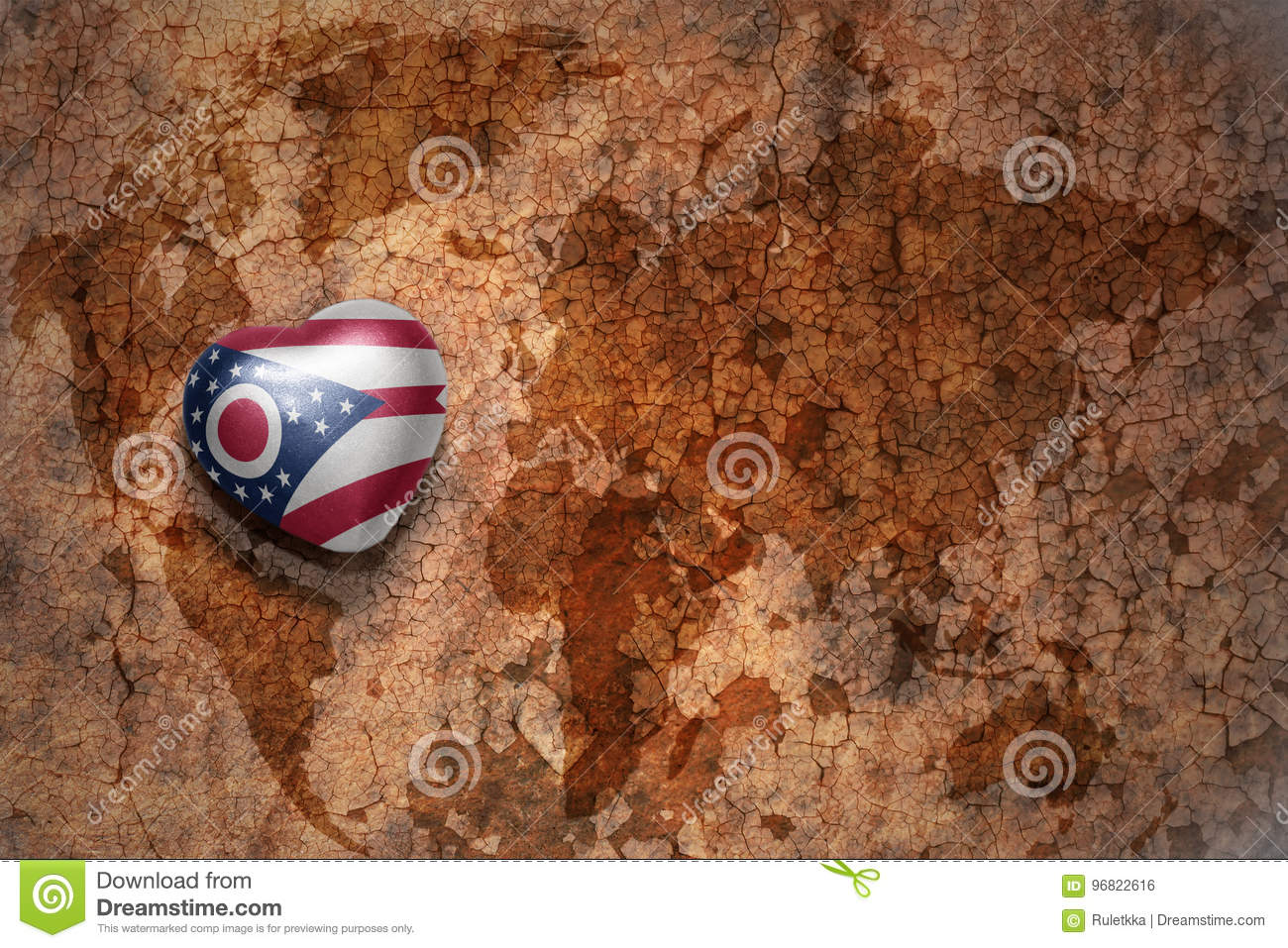 Heart with ohio state flag on a vintage world map crack paper background