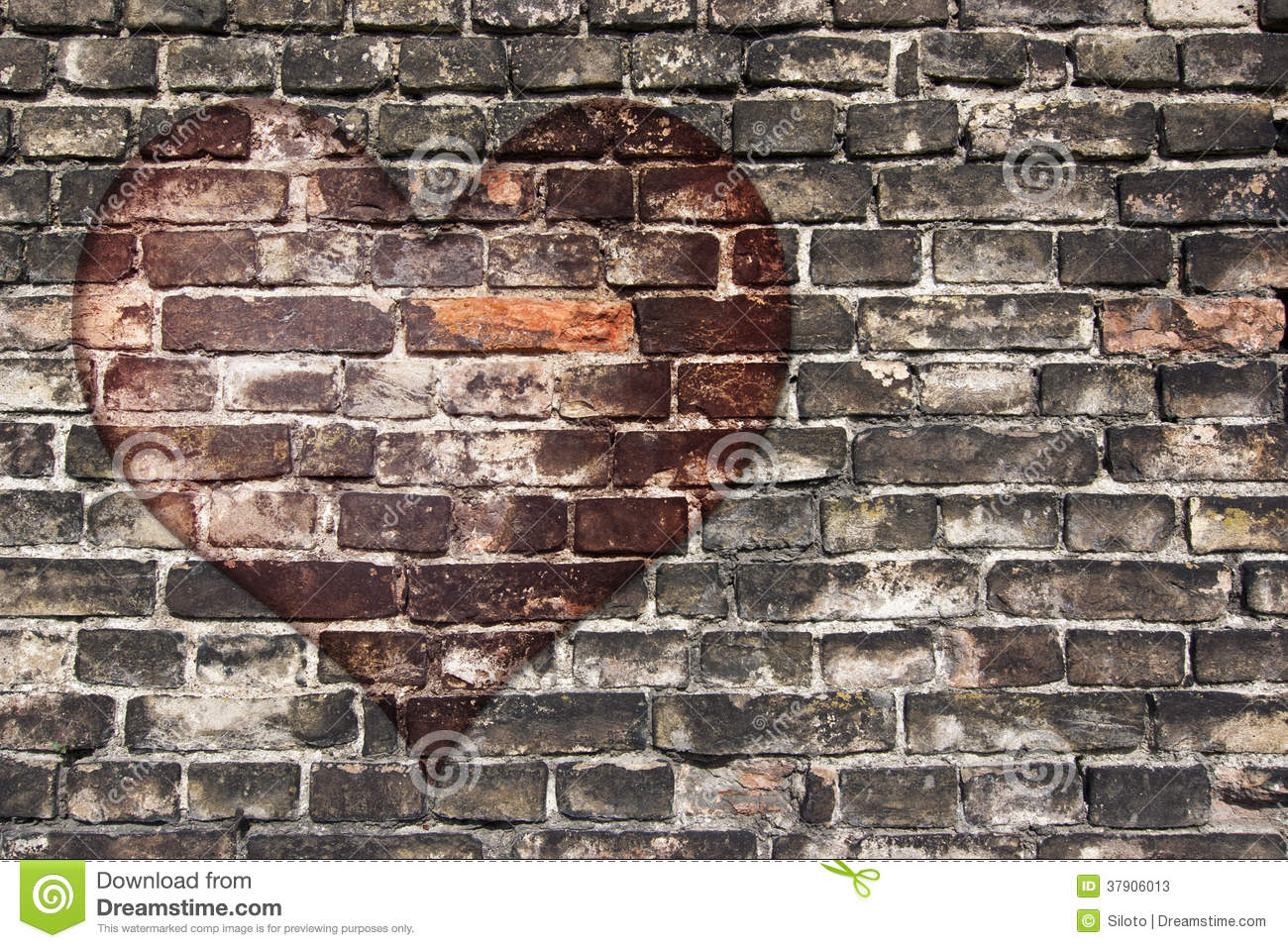 Heart On The Old Wall Stock Image Image Of Love Surface