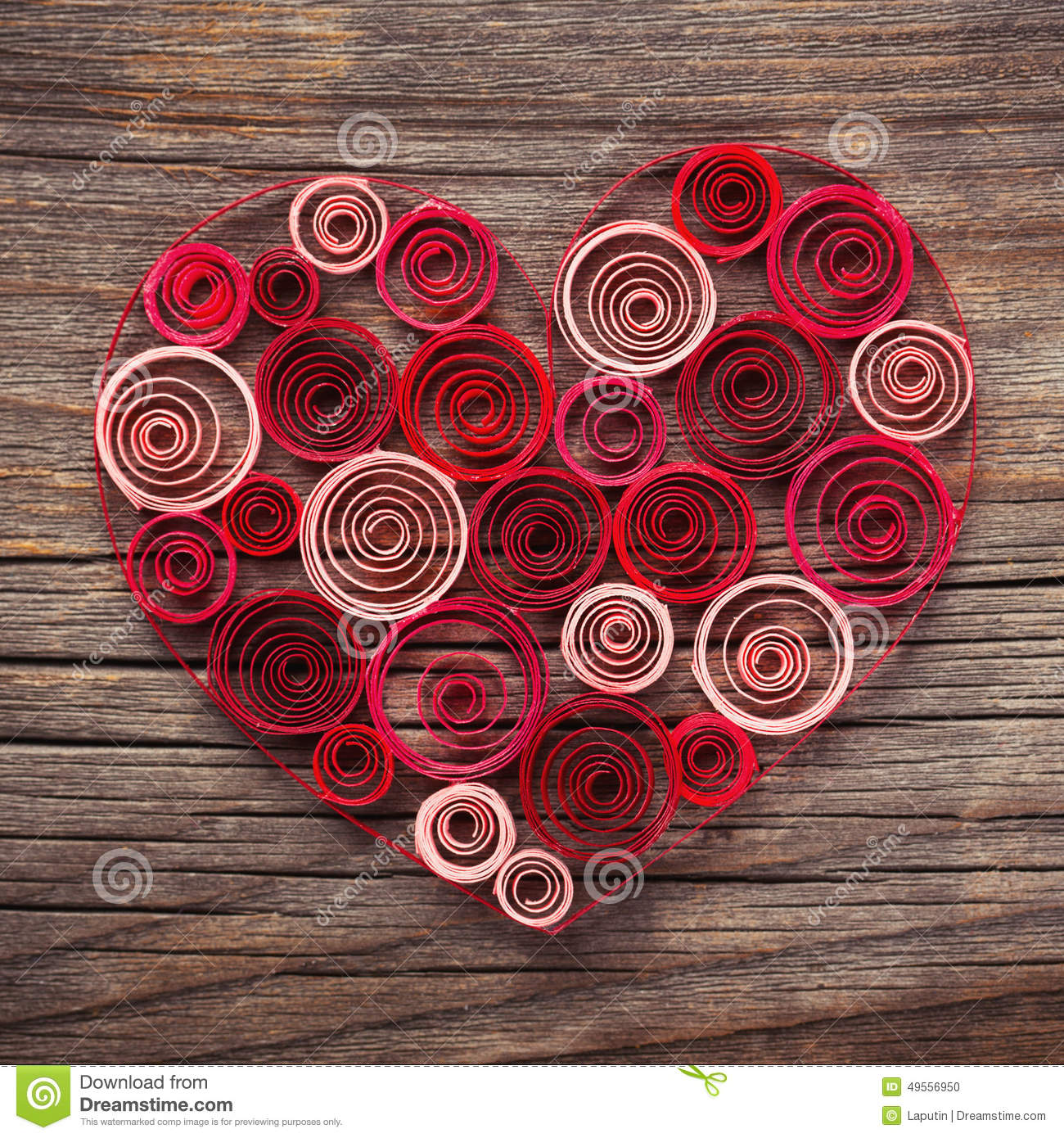 Heart Of Paper Quilling For Valentines Day Stock