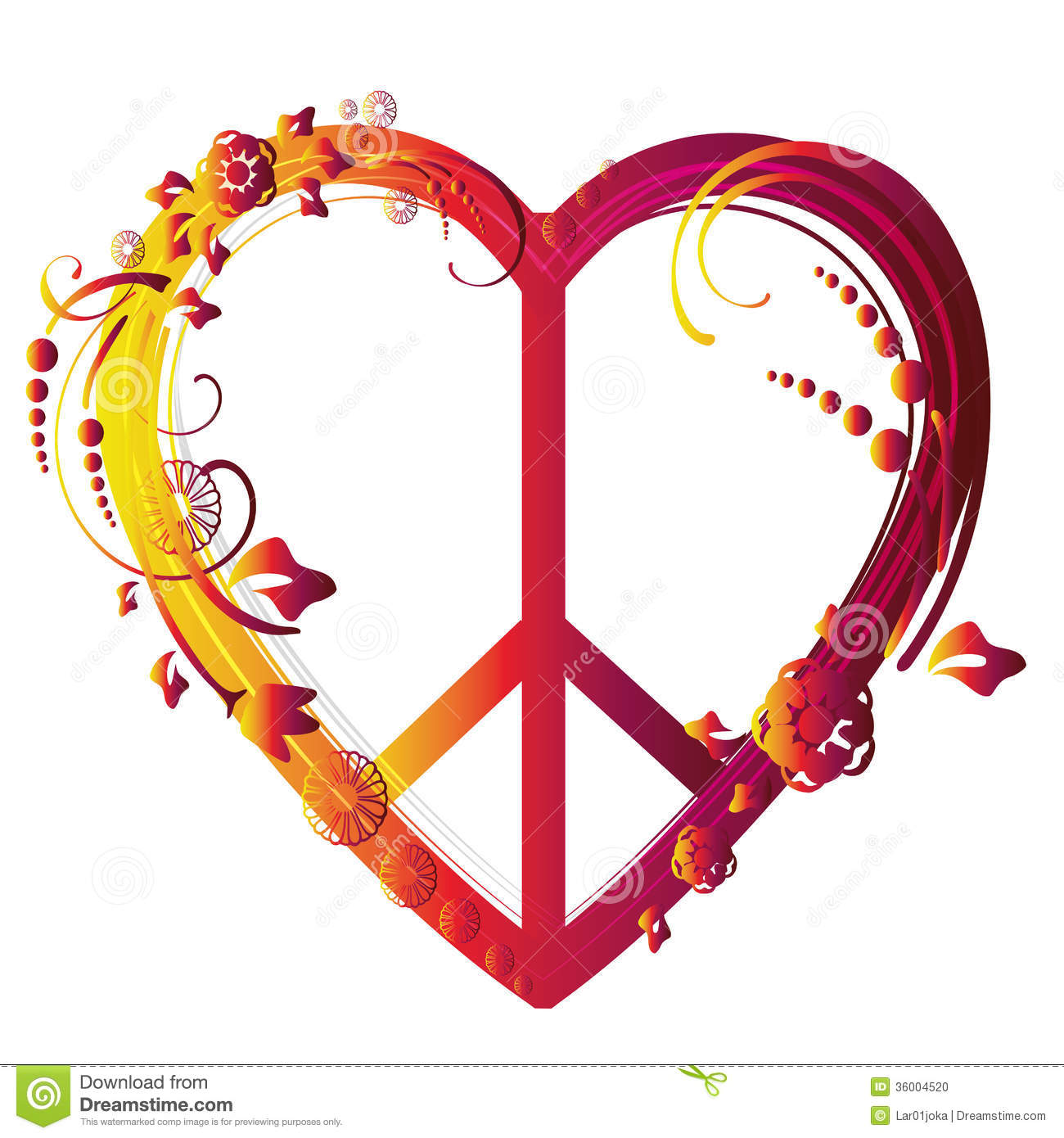 Heart Peace Symbol Stock Vector Illustration Of Colorful 36004520