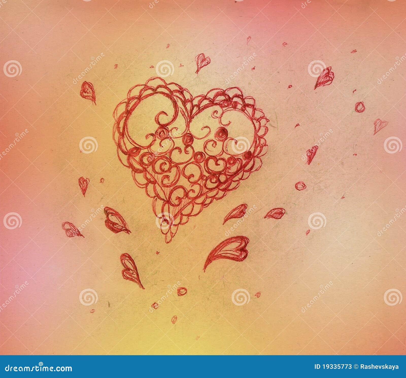 Heart, pencil drawing