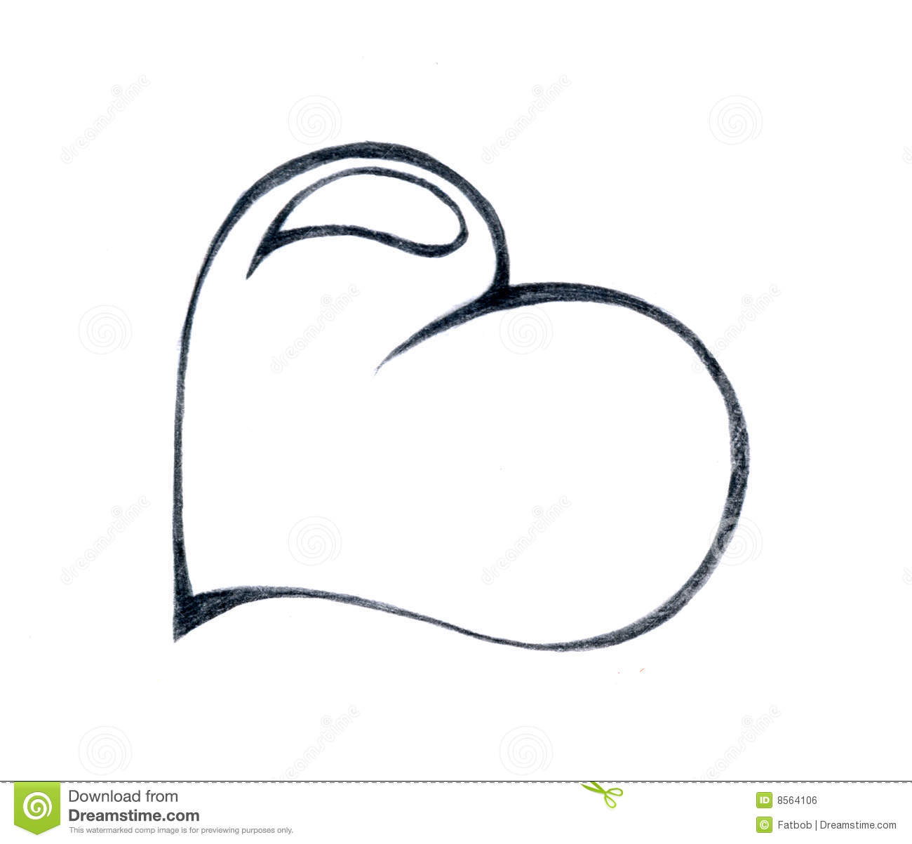 An artistic pencil drawing of a valentine heart