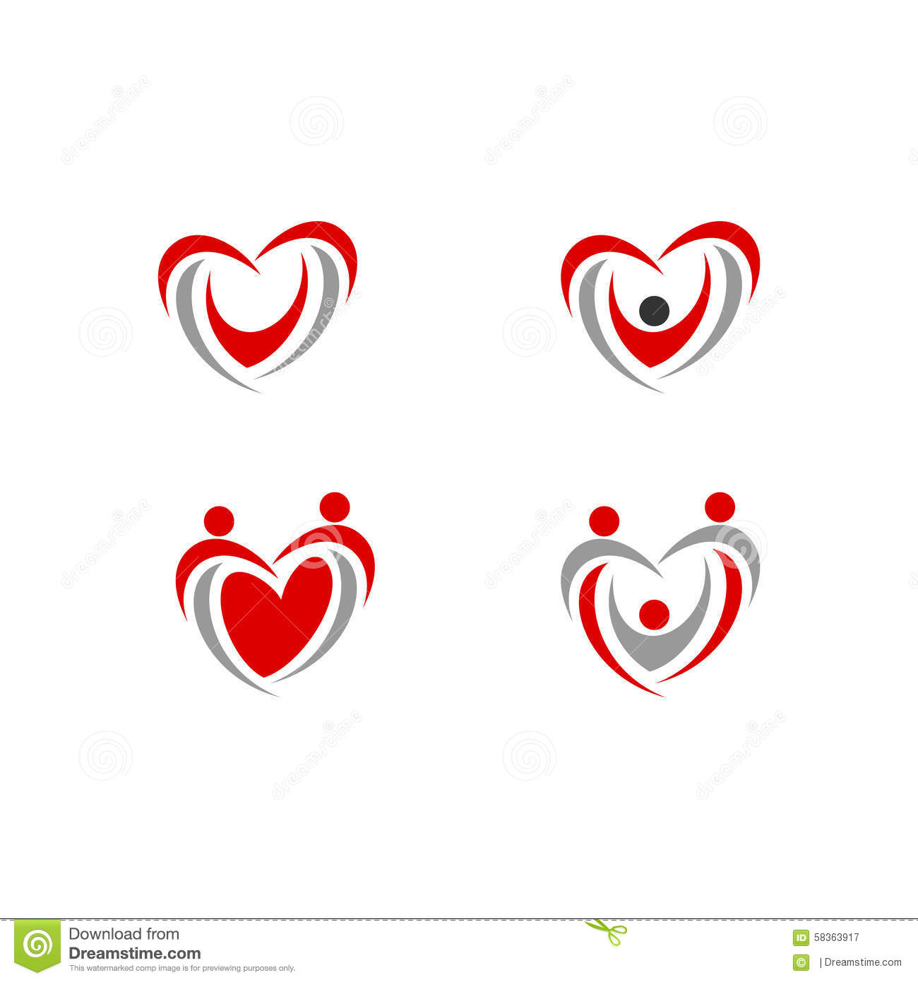 Heart People Love Logo Vector Icon Health Stock Vector ...