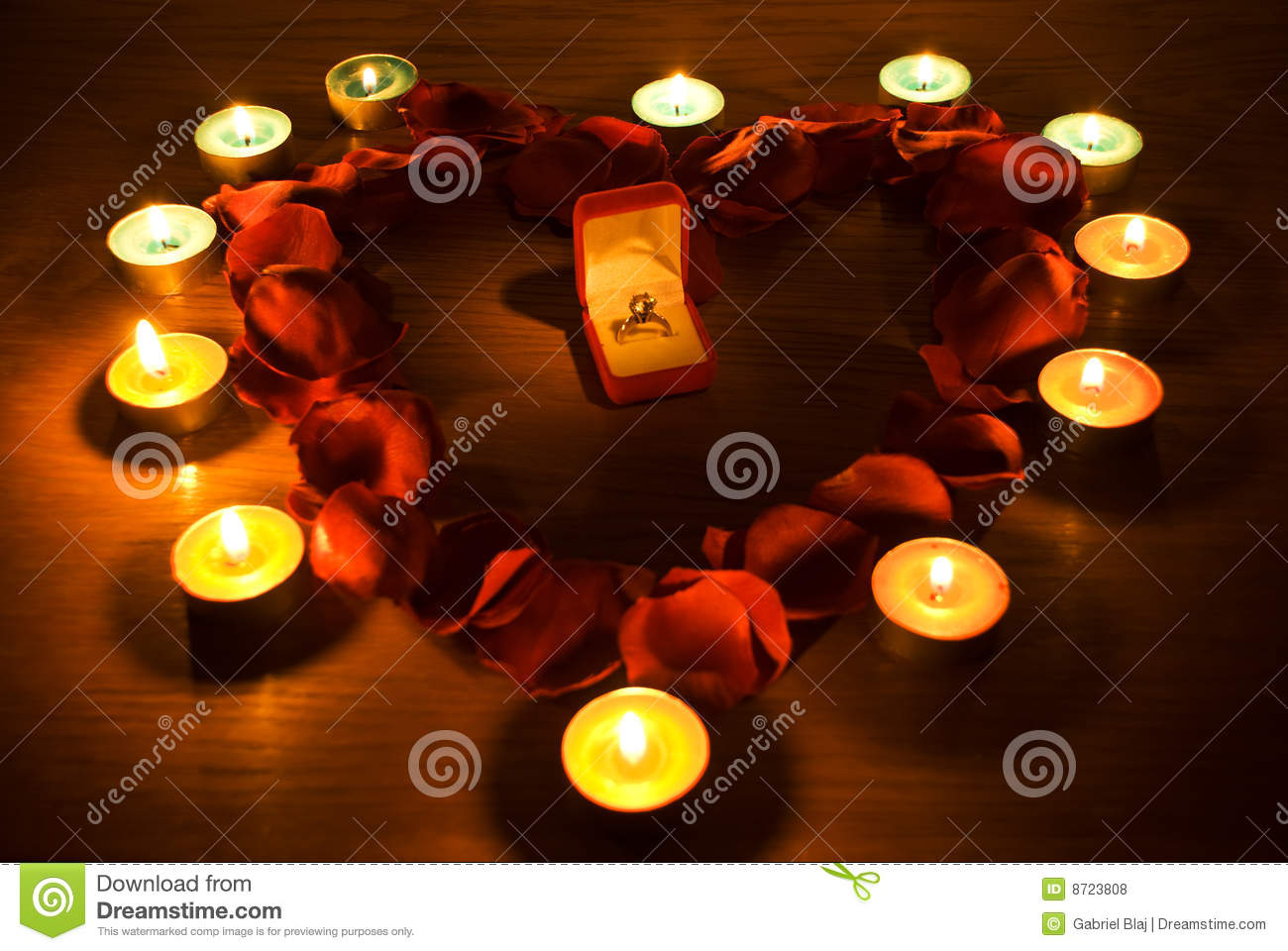 Heart with petals and candle lights
