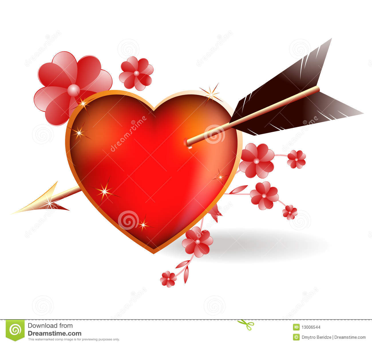 Heart Pierced By An Arrow Cupid. Stock Vector - Image ...