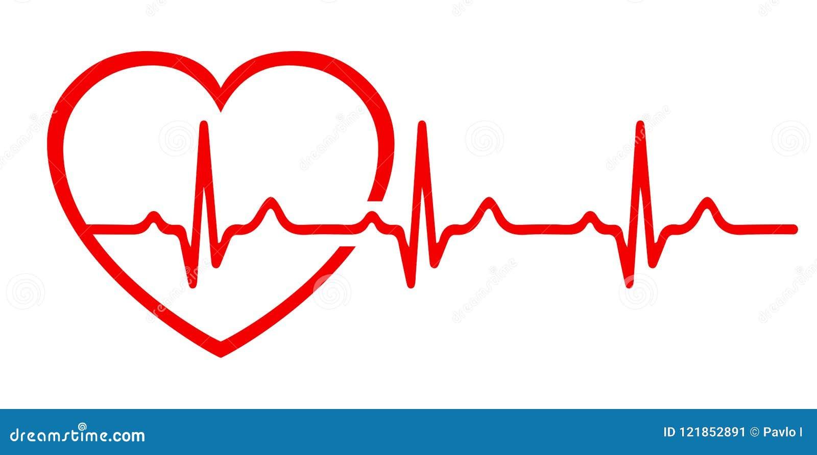 Heart Pulse, One Line, Cardiogram Sign, Heartbeat - Vector ...