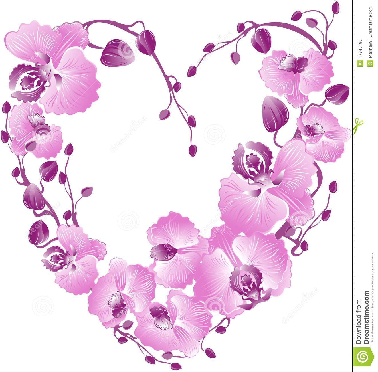 Heart From Purple Orchid. Vector Illustration Royalty Free ...