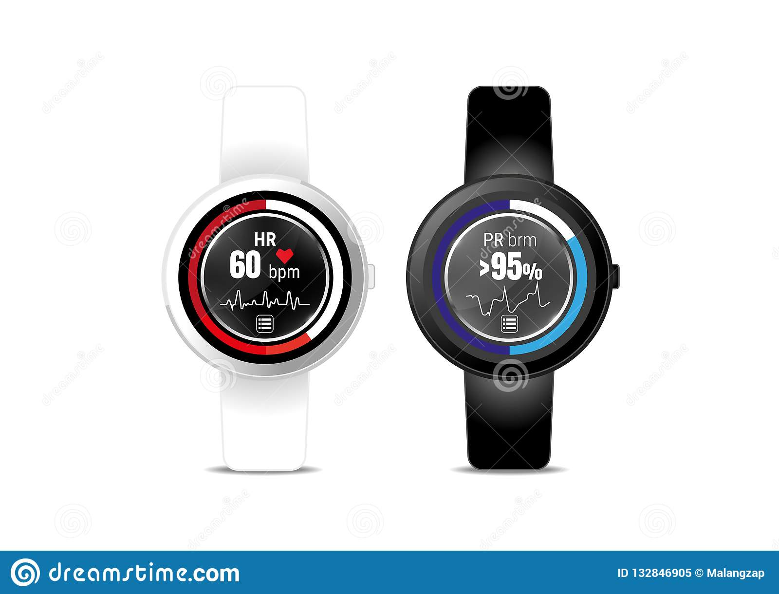 Heart rate application display on smartwatch