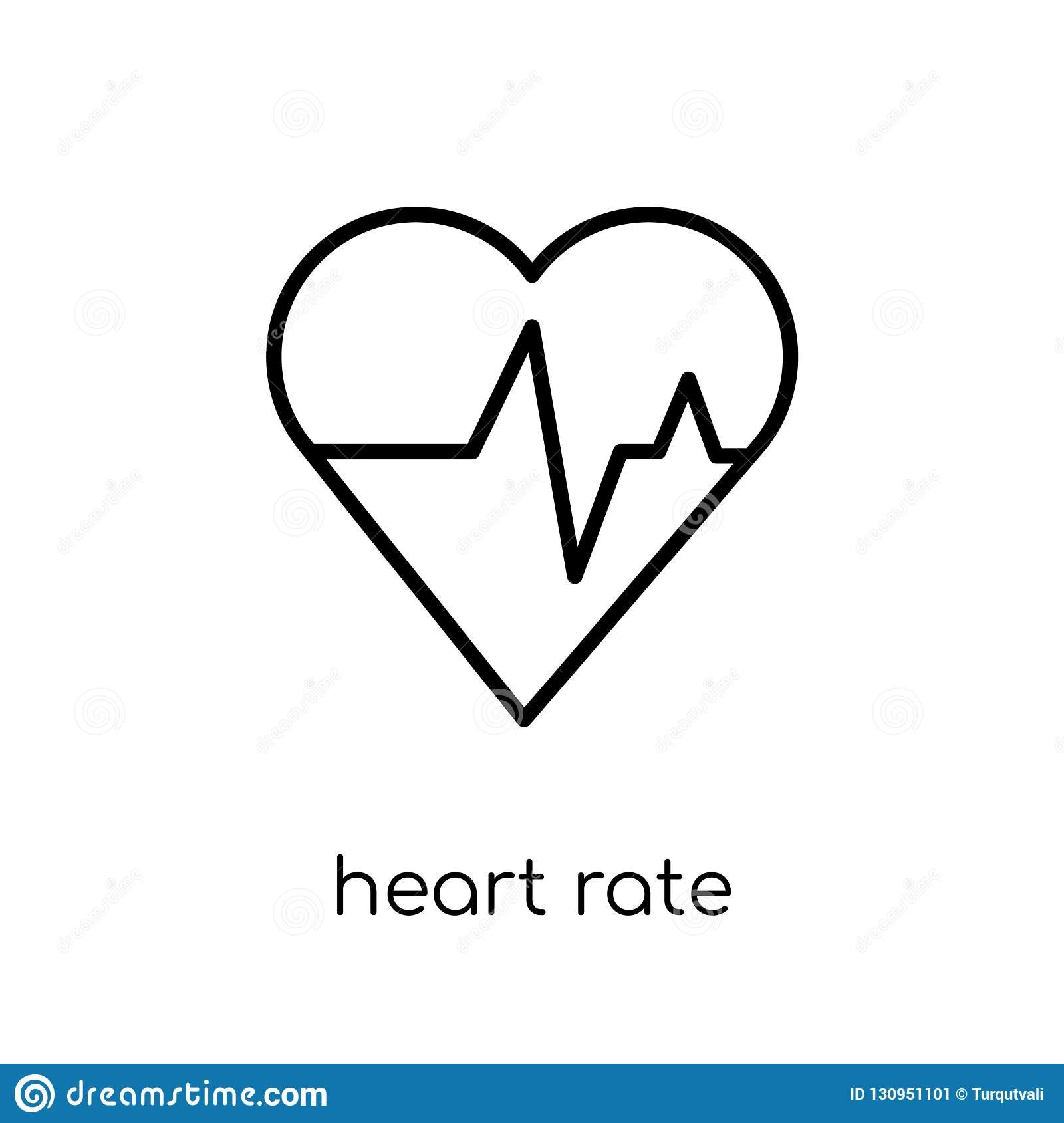 Heart rate icon. Trendy modern flat linear vector Heart rate icon on white background from thin line Health and Medical collection