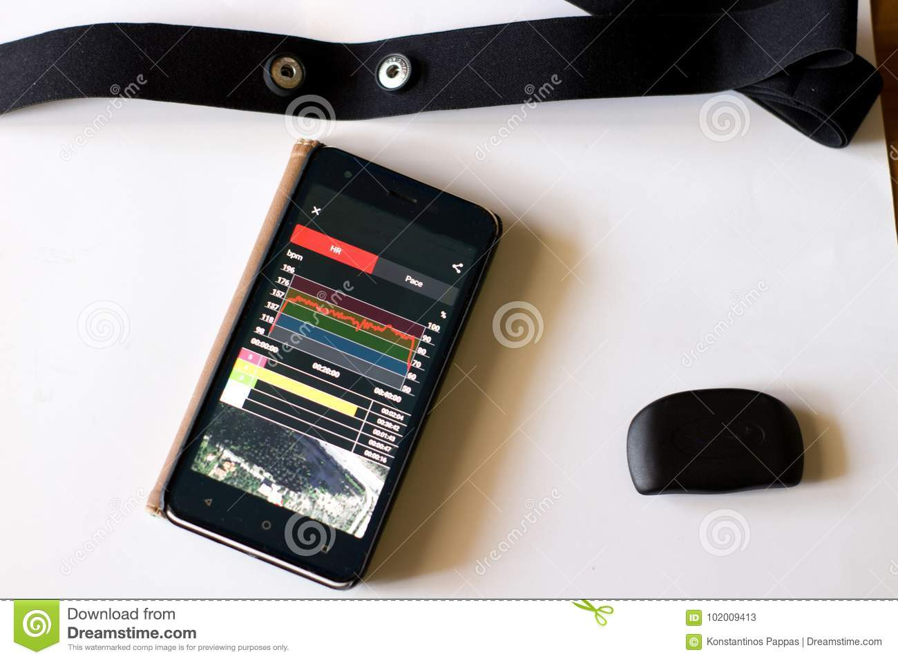 Heart Rate Monitor With Chest Strap And App Stock Image