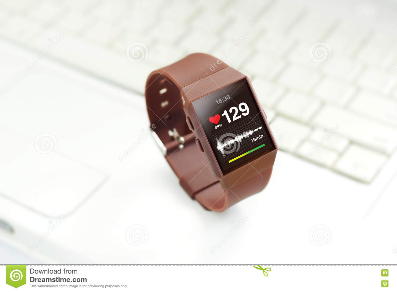 Heart Rate On Smartwatch Screen, On Laptop Background ...