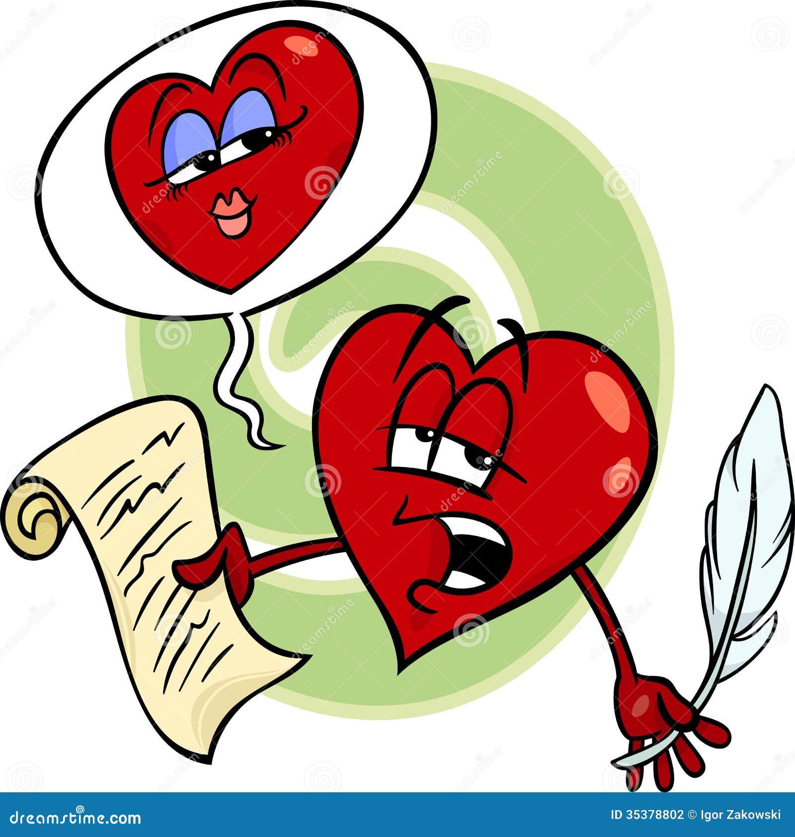 Cartoon illustration of heart poet character reading a love poem on