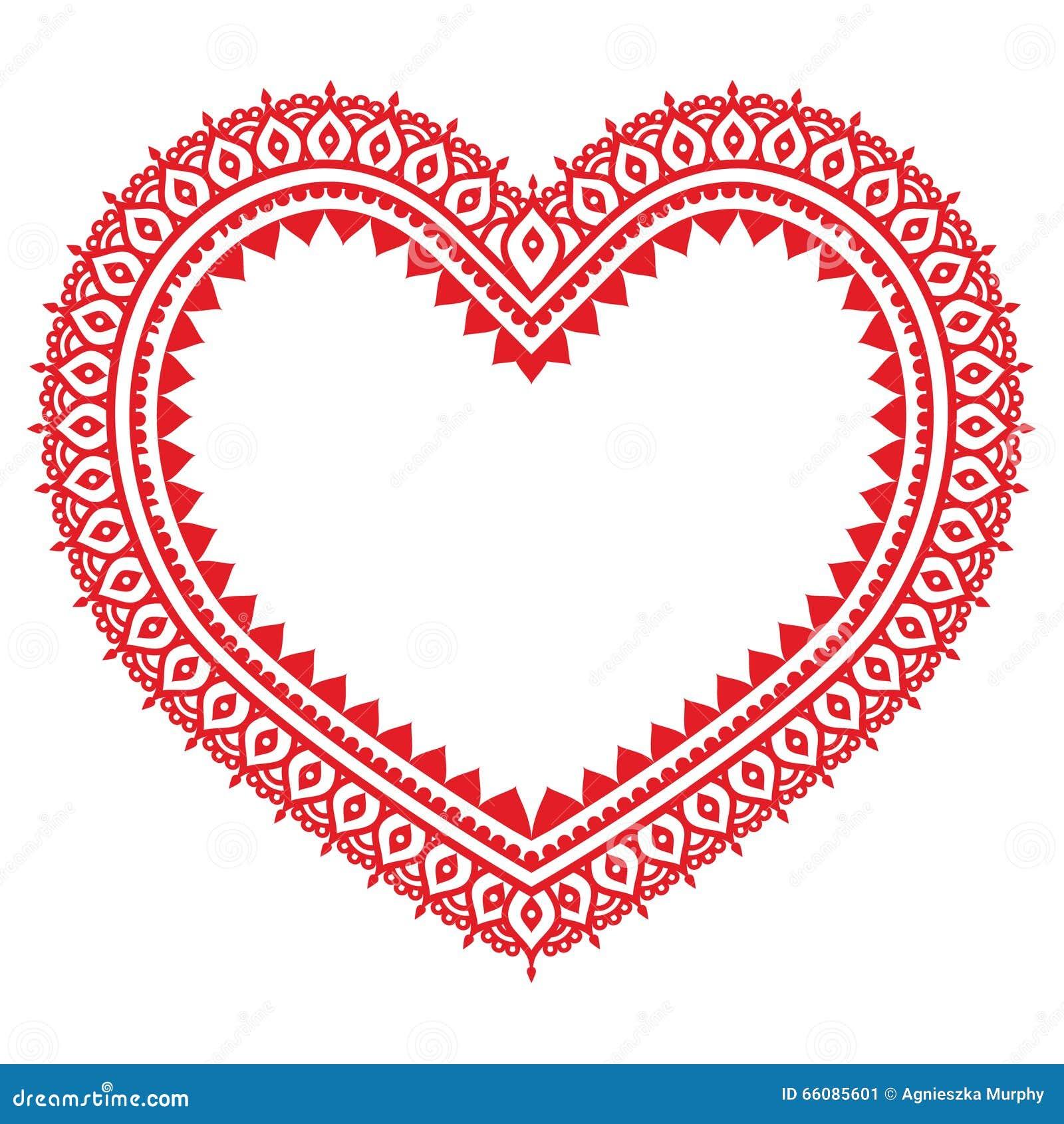 Heart Red Mehndi Design Indian Henna Tattoo Pattern Stock