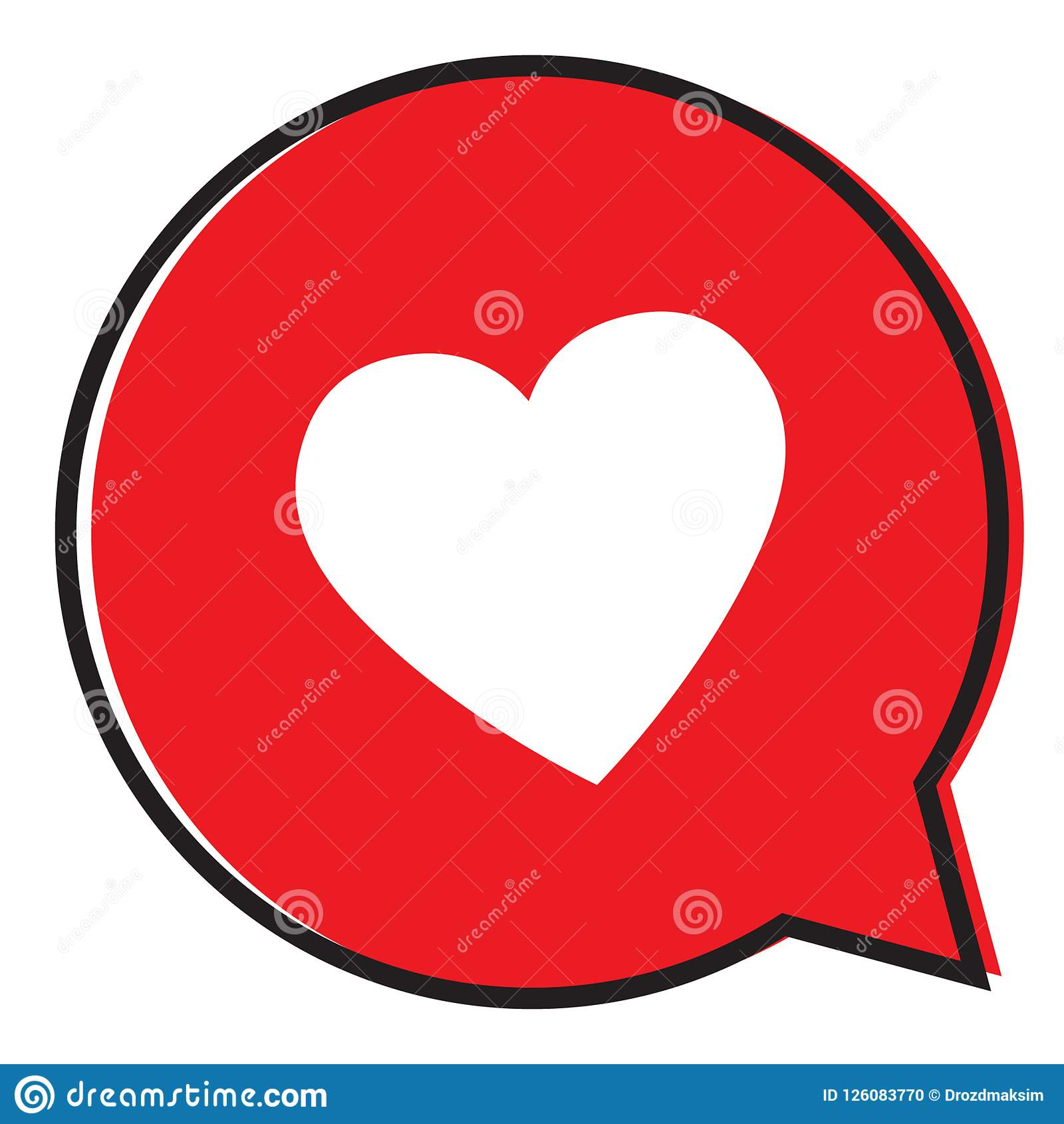 Heart In A Red Speech Bubble Love Icon Valentines Day Icon Stock