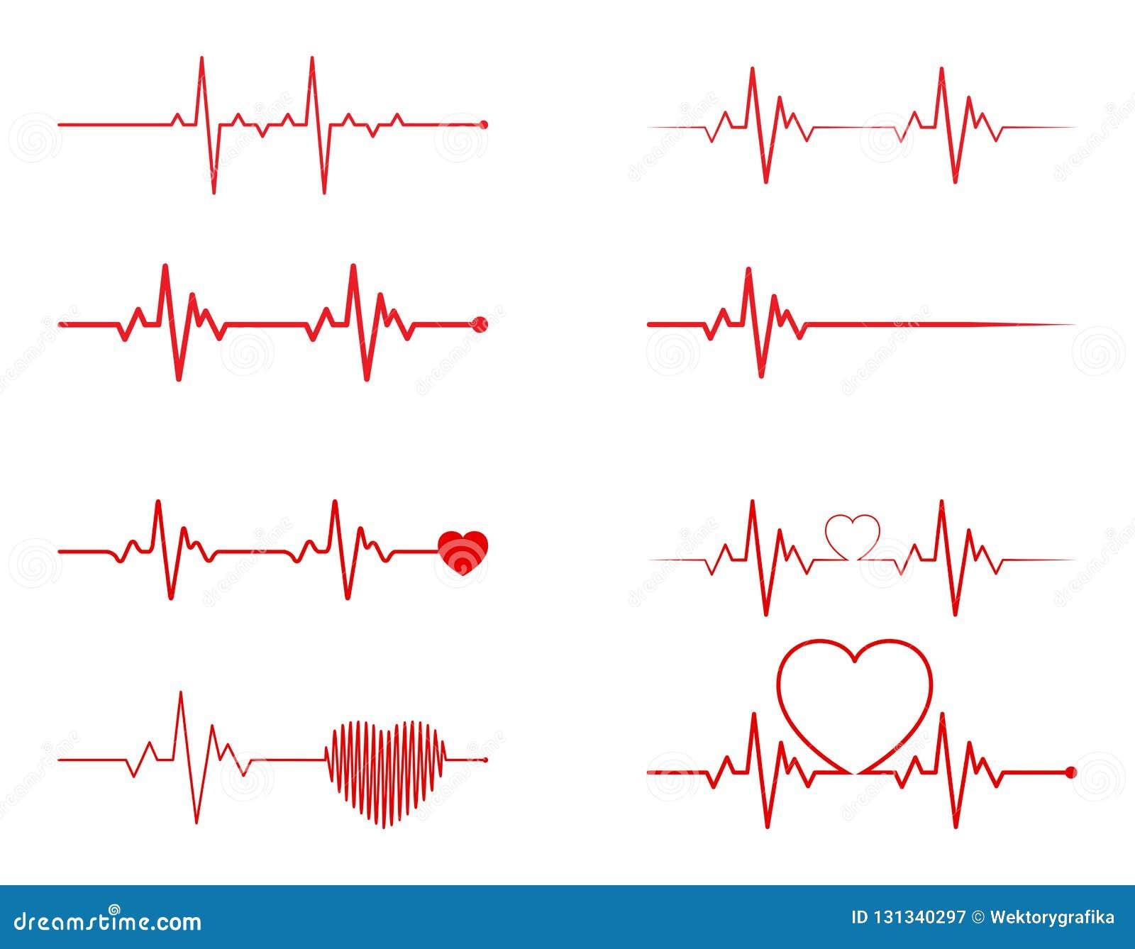 heart rhythm set, Electrocardiogram, ECG - EKG signal, Heart Beat pulse line concept design isolated on white background