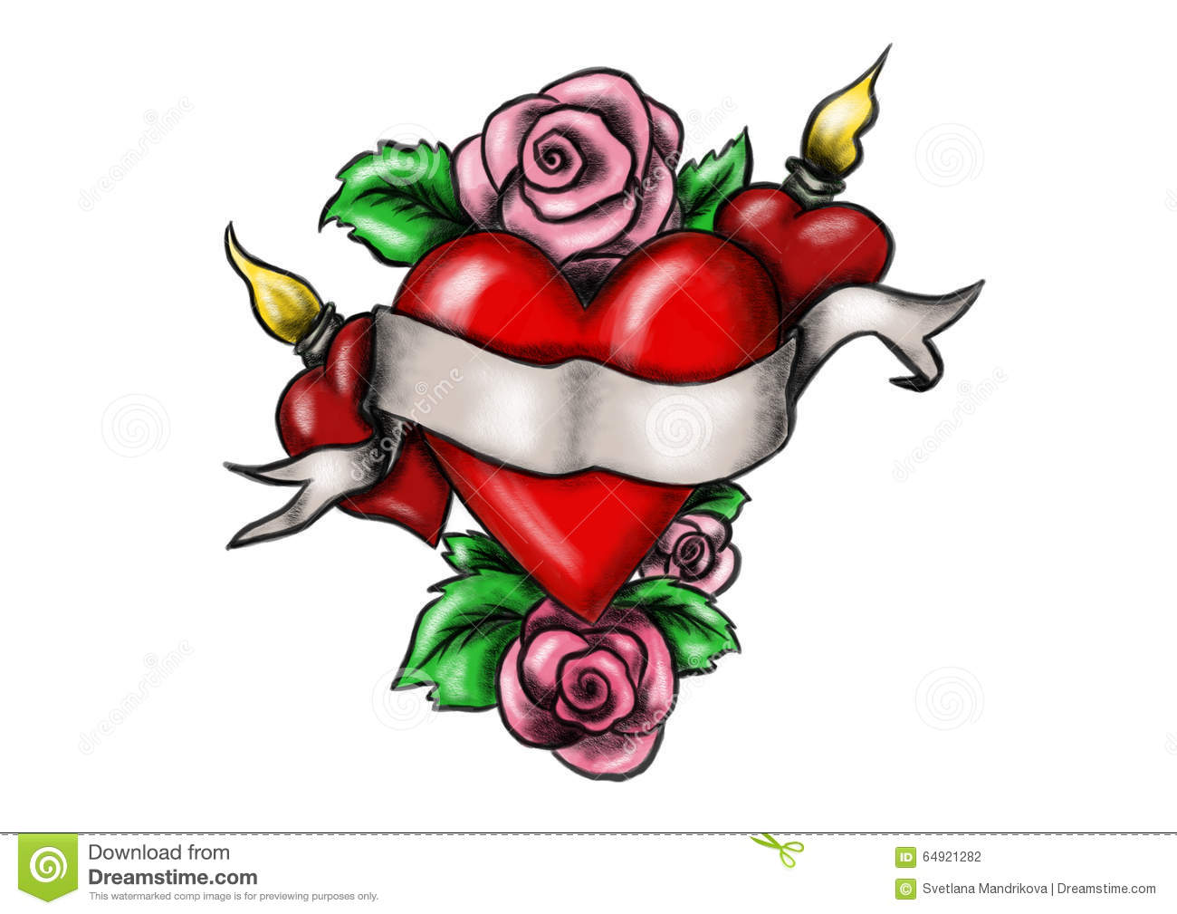 Heart With Ribbon Surrounded By Roses Stock Illustration