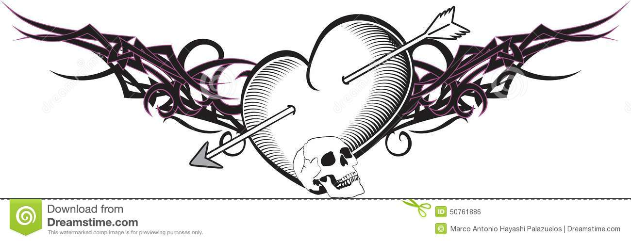 efbeee14f0a7a Heart And Ribbon Tattoo Arrow Stock Vector - Illustration of tribal ...