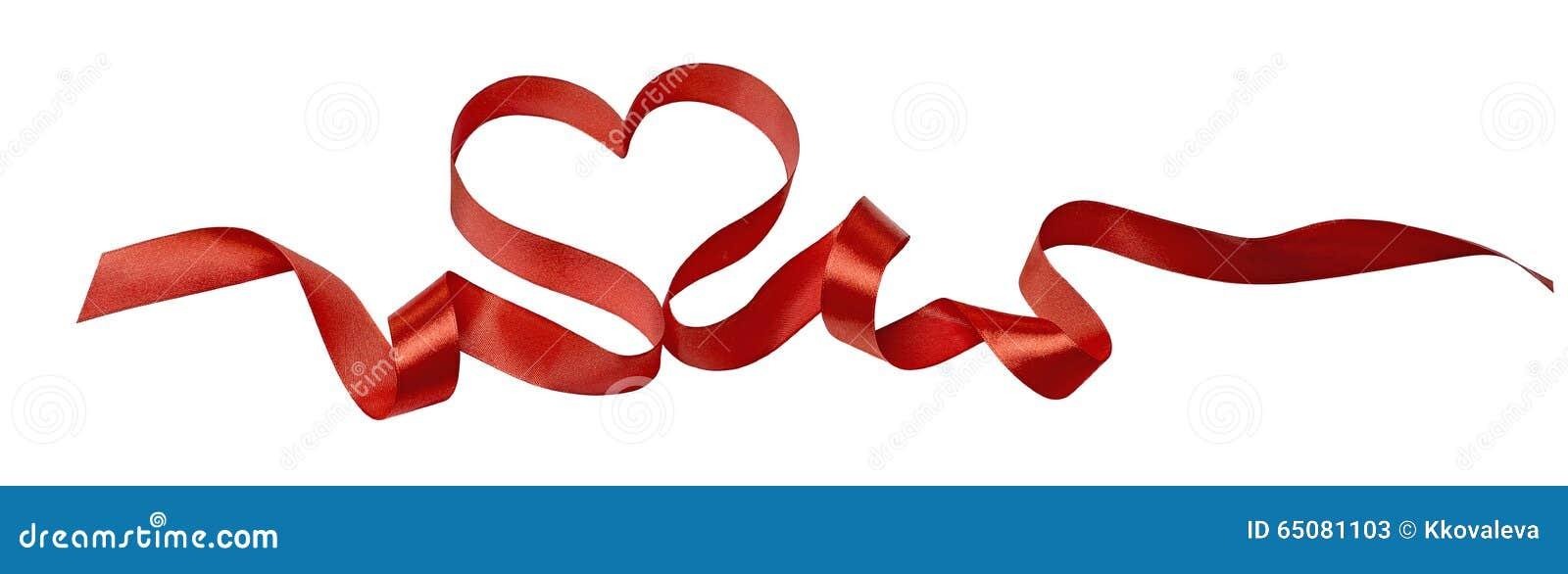 heart ribbon valentine design image horizontal isolated - Valentine Ribbon