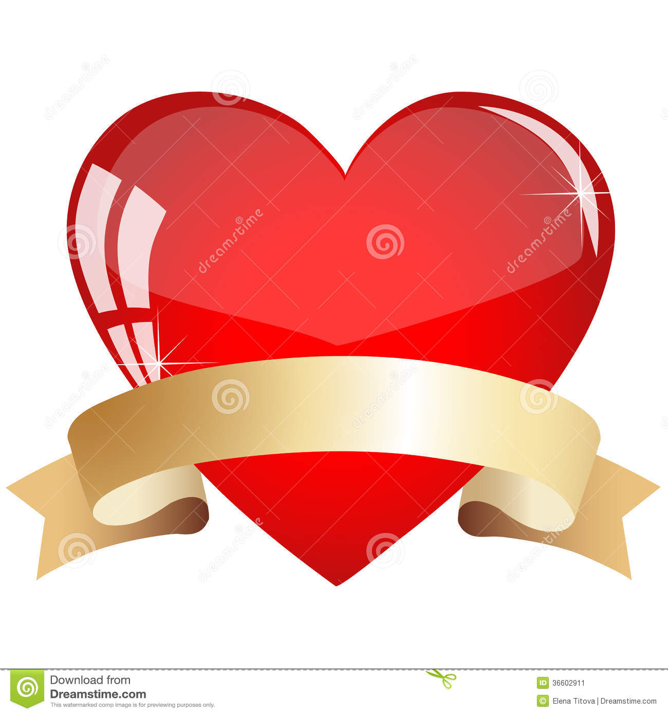 Heart With Ribbon Stock Image - Image: 36602911