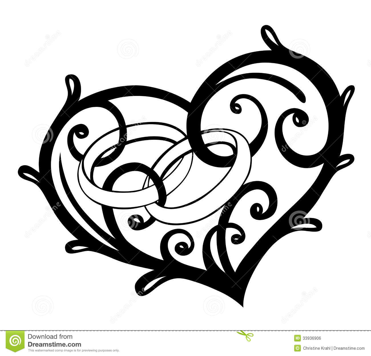 heart rings wedding stock vector illustration of card 33936906 rh dreamstime com wedding heart clipart vector wedding heart clipart free