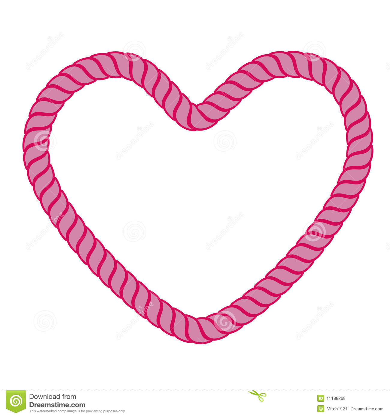 Illustration of pink heart rope isolated over white background.