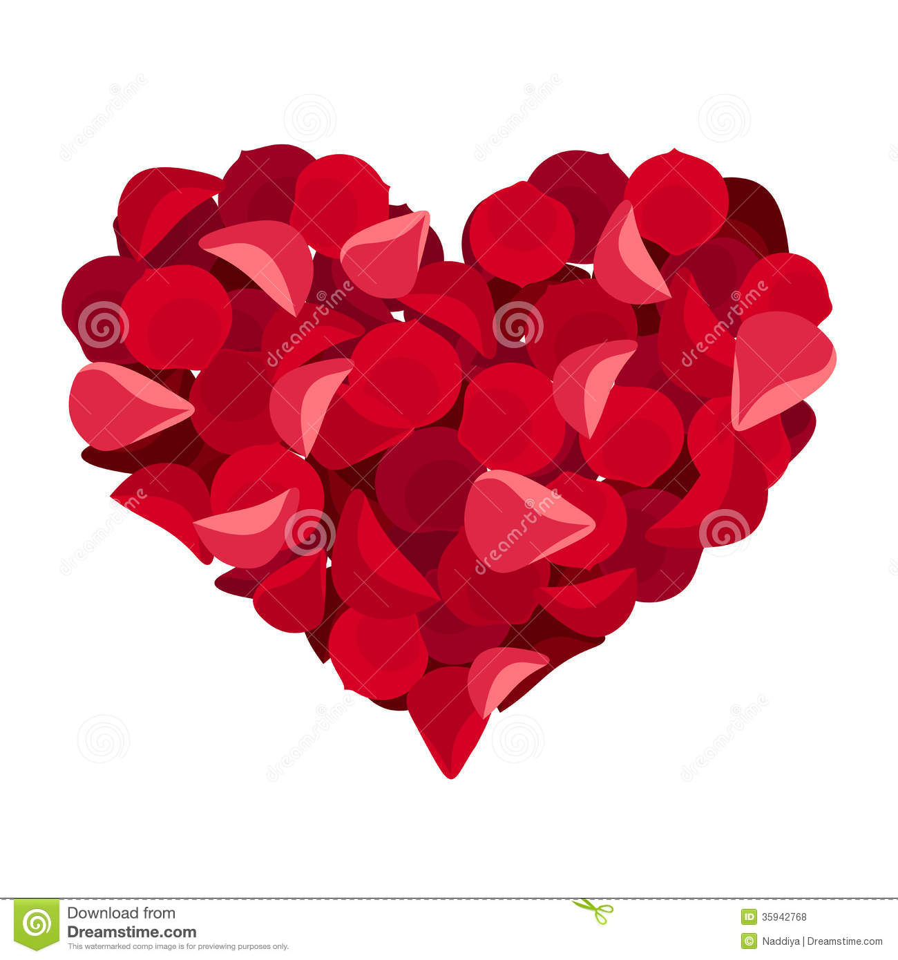 Red Rose Petals In Heart Shape With Large Knife Stock Photo ...