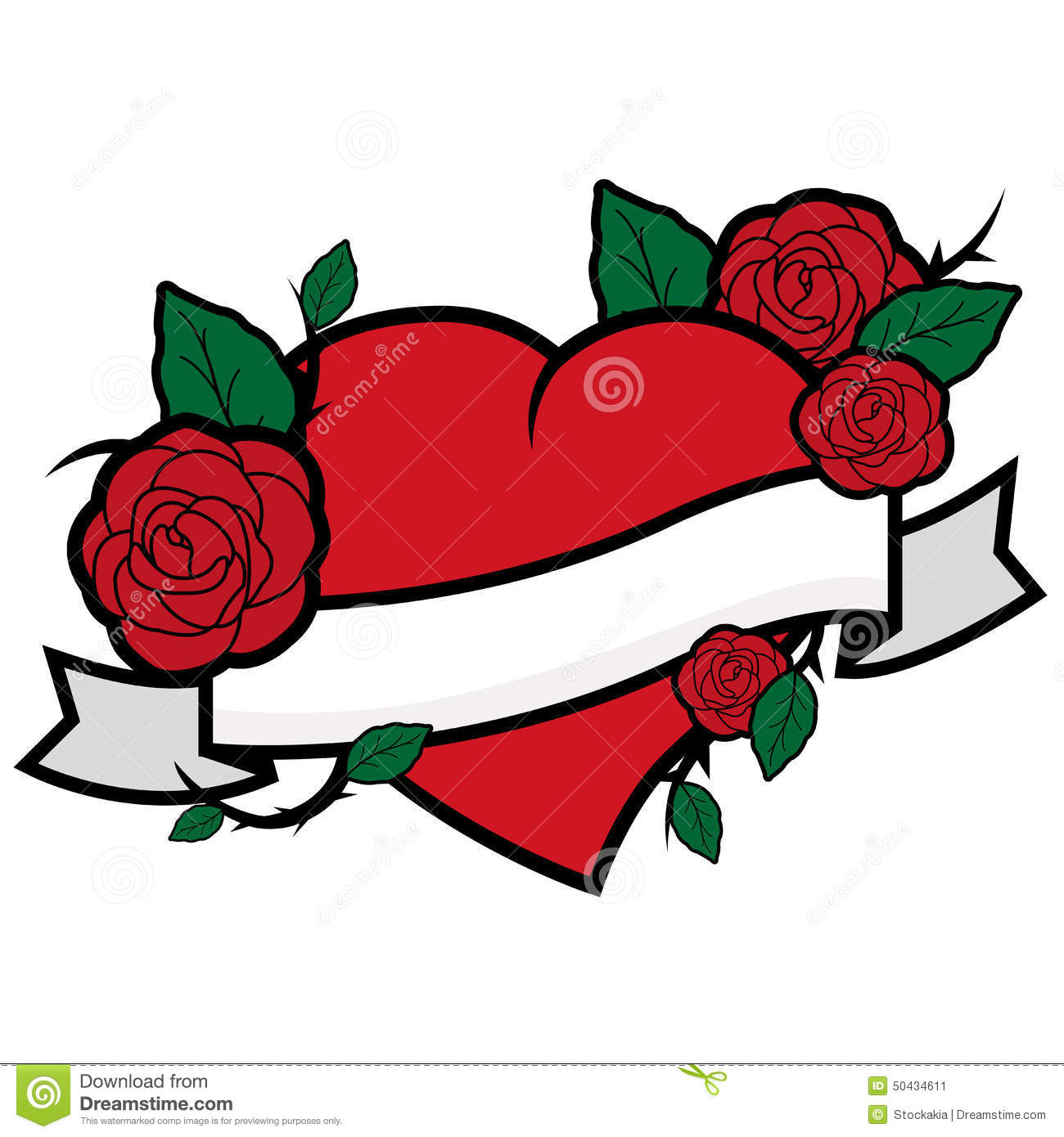 Heart With Rose And Banner: Heart, Roses And Banner Stock Vector. Illustration Of