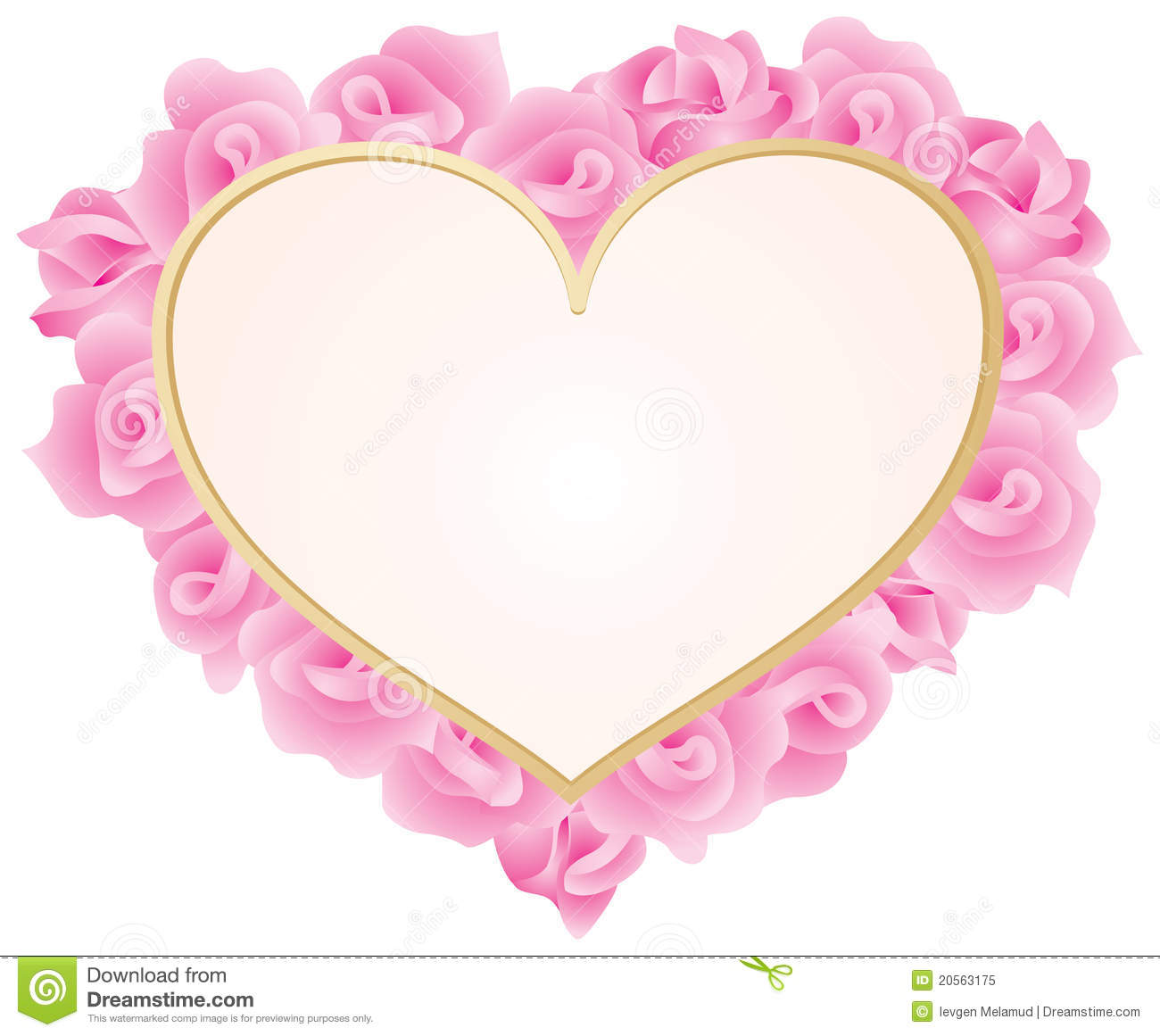 Heart with roses frame, Valentine Card, Valentine's Day, Love, Vector ...