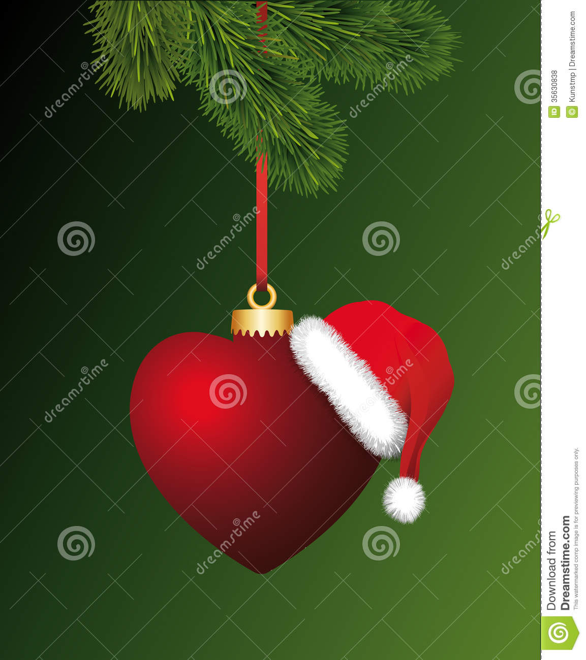 Heart With Santa Claus Hat Hanging On The Christma Stock ...