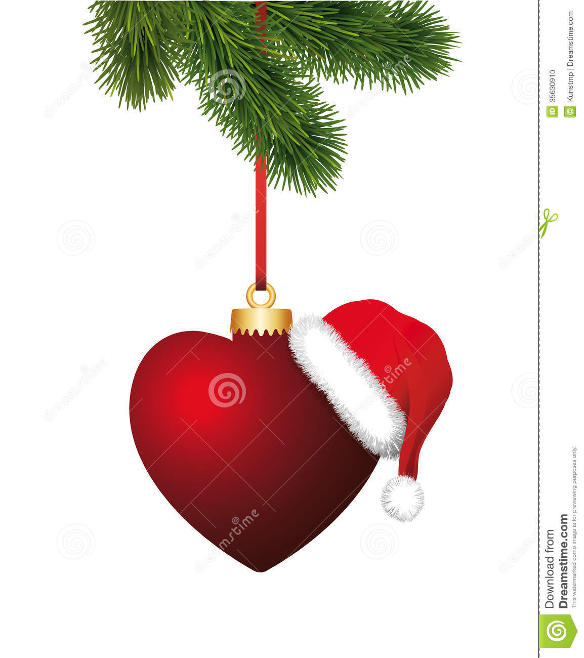 Heart with santa claus hat hanging on the christma stock