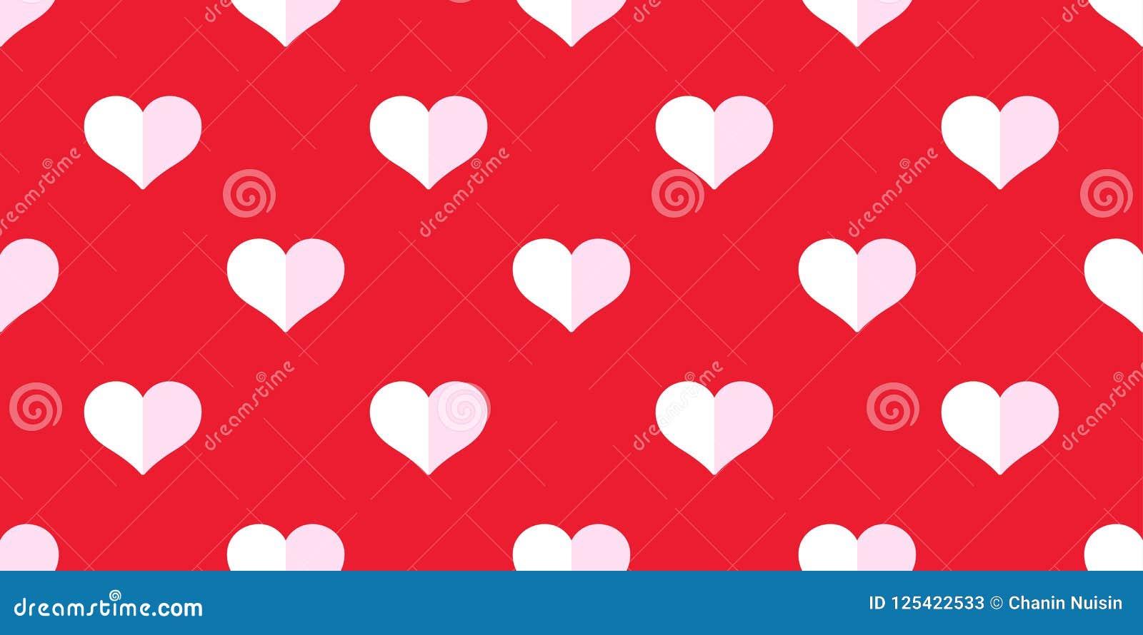 Heart Seamless Pattern Valentine Vector Isolated Doodle Cartoon