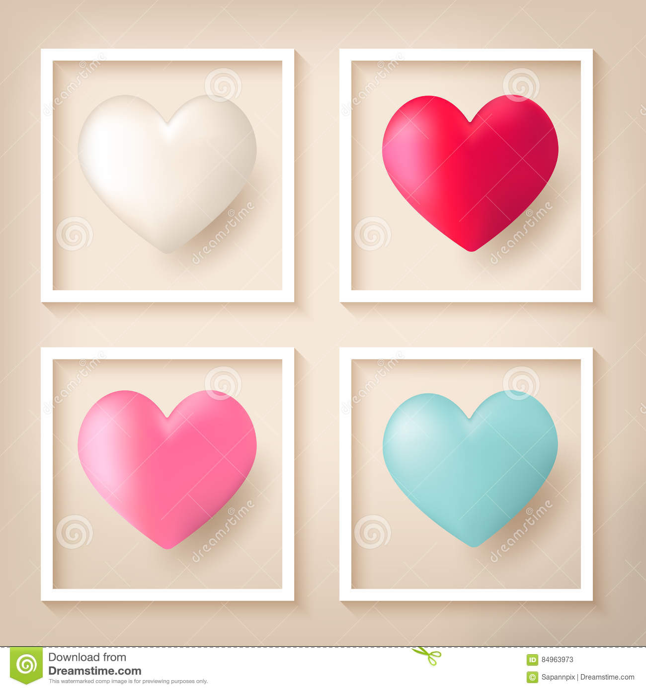 Heart Shape Balloons With Frames Stock Vector - Illustration of ...