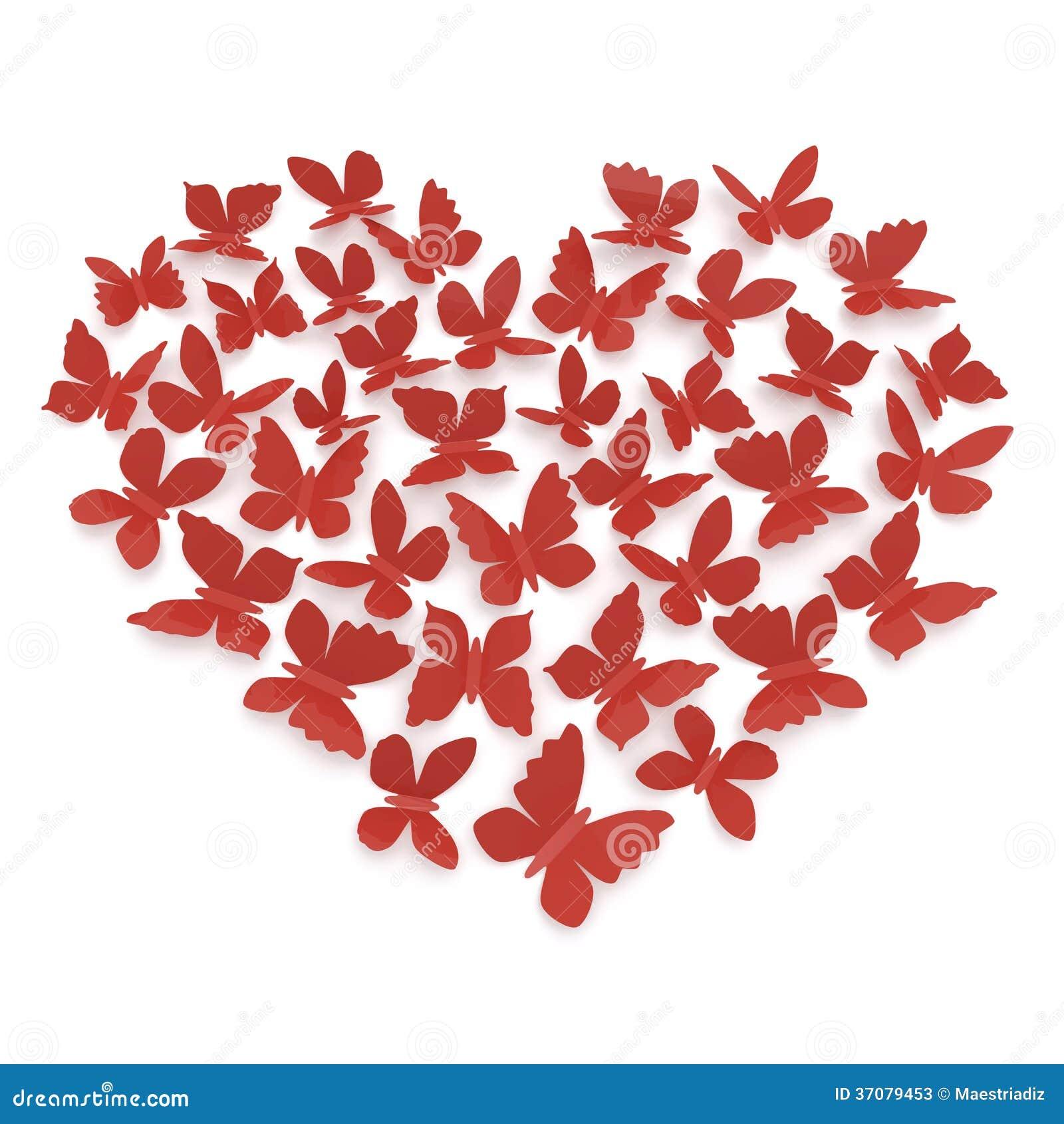 Heart Shape Of Butterflies Stock Illustration Illustration