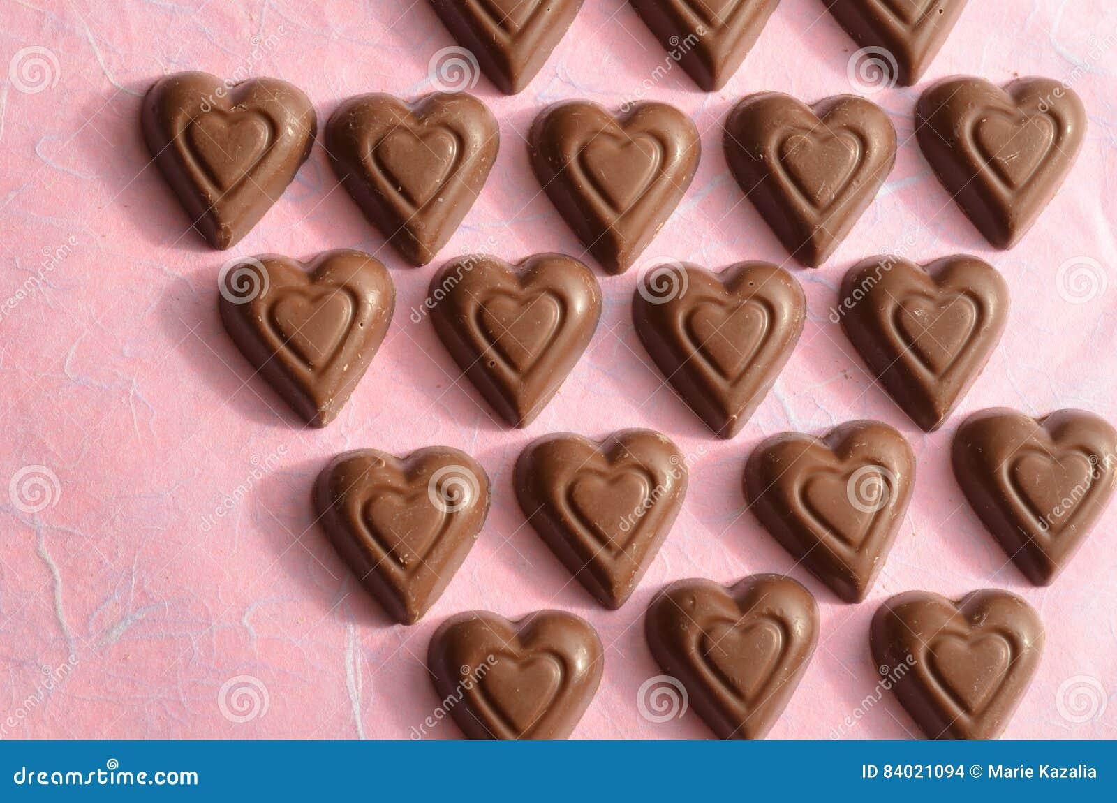 Heart Shape Chocolate Valentines Day Symbols Of Love Stock Photo