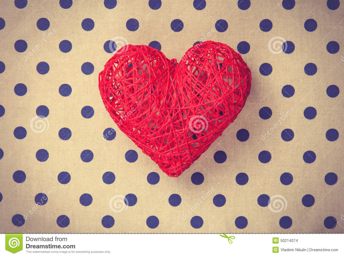 Heart Shape Decorate Toy On Polka Dot Background. Stock