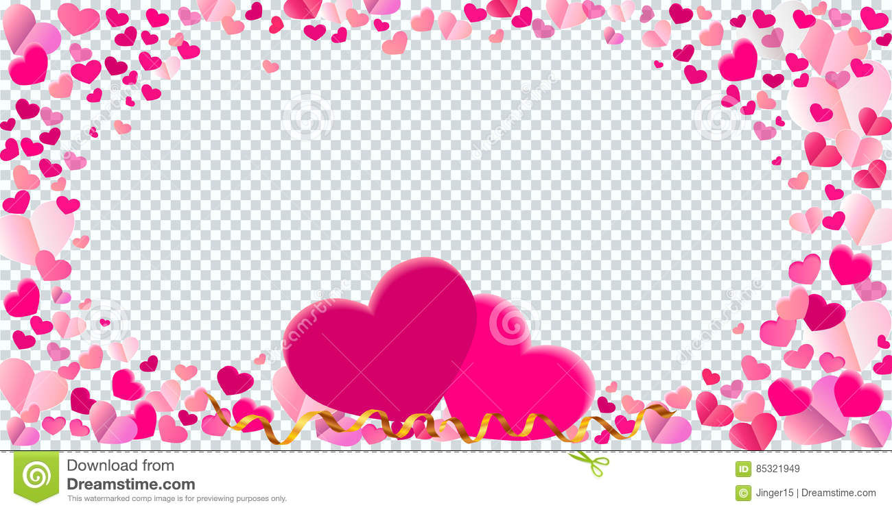 Heart Shape Different Pink Confetti Vector Frame With Two Big He ...