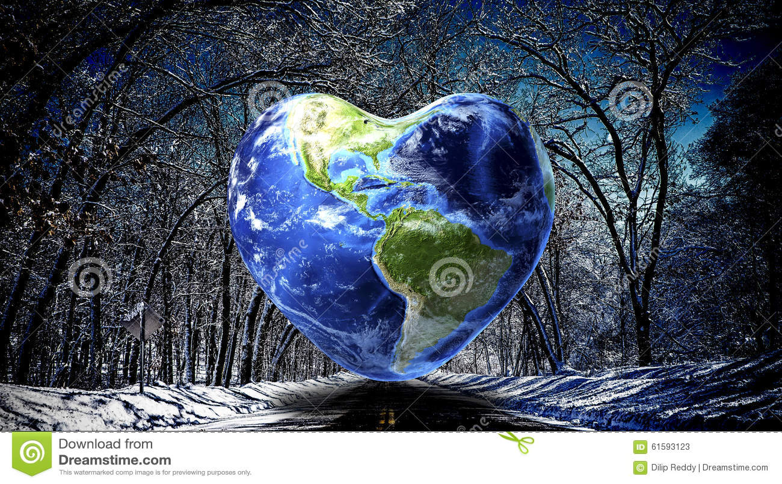 Heart shape Earth background