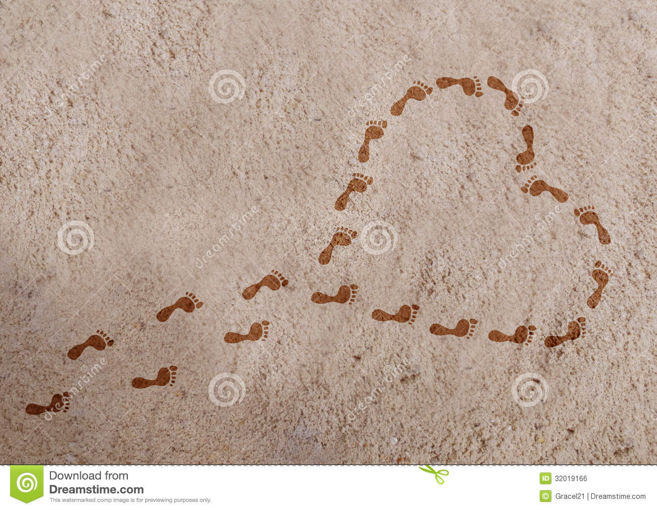 Heart Shape With Footprints On The Sand Royalty Free Stock
