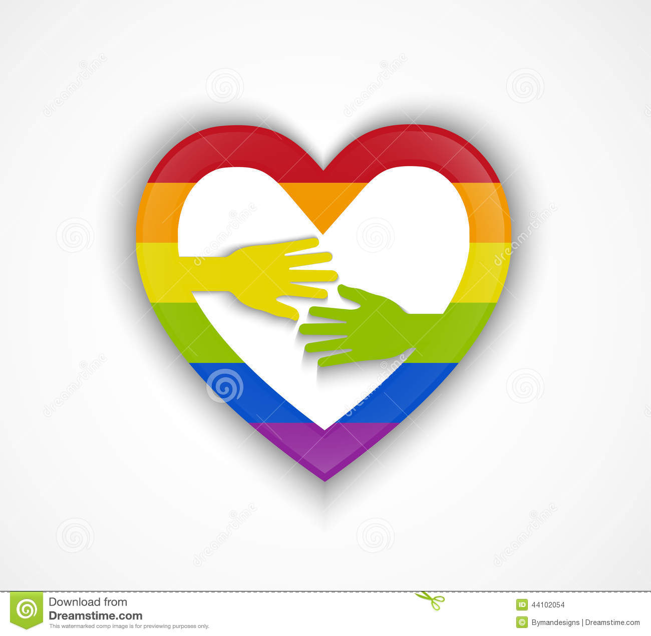 Gay heart with hands