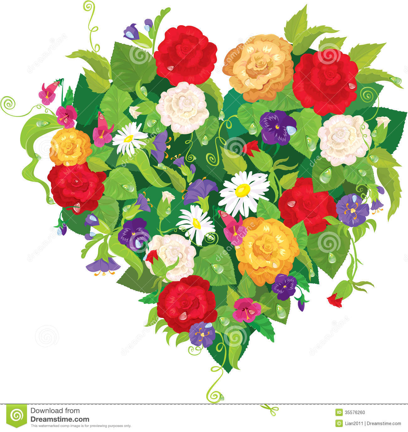 Heart Shape Is Made Of Beautiful Flowers Roses Stock Vector