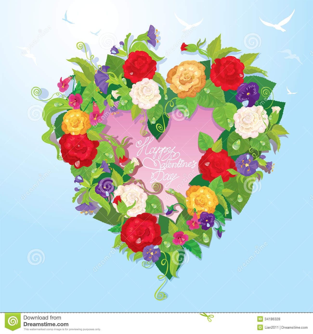 Heart shape is made of beautiful flowers roses stock vector download heart shape is made of beautiful flowers roses stock vector illustration of izmirmasajfo