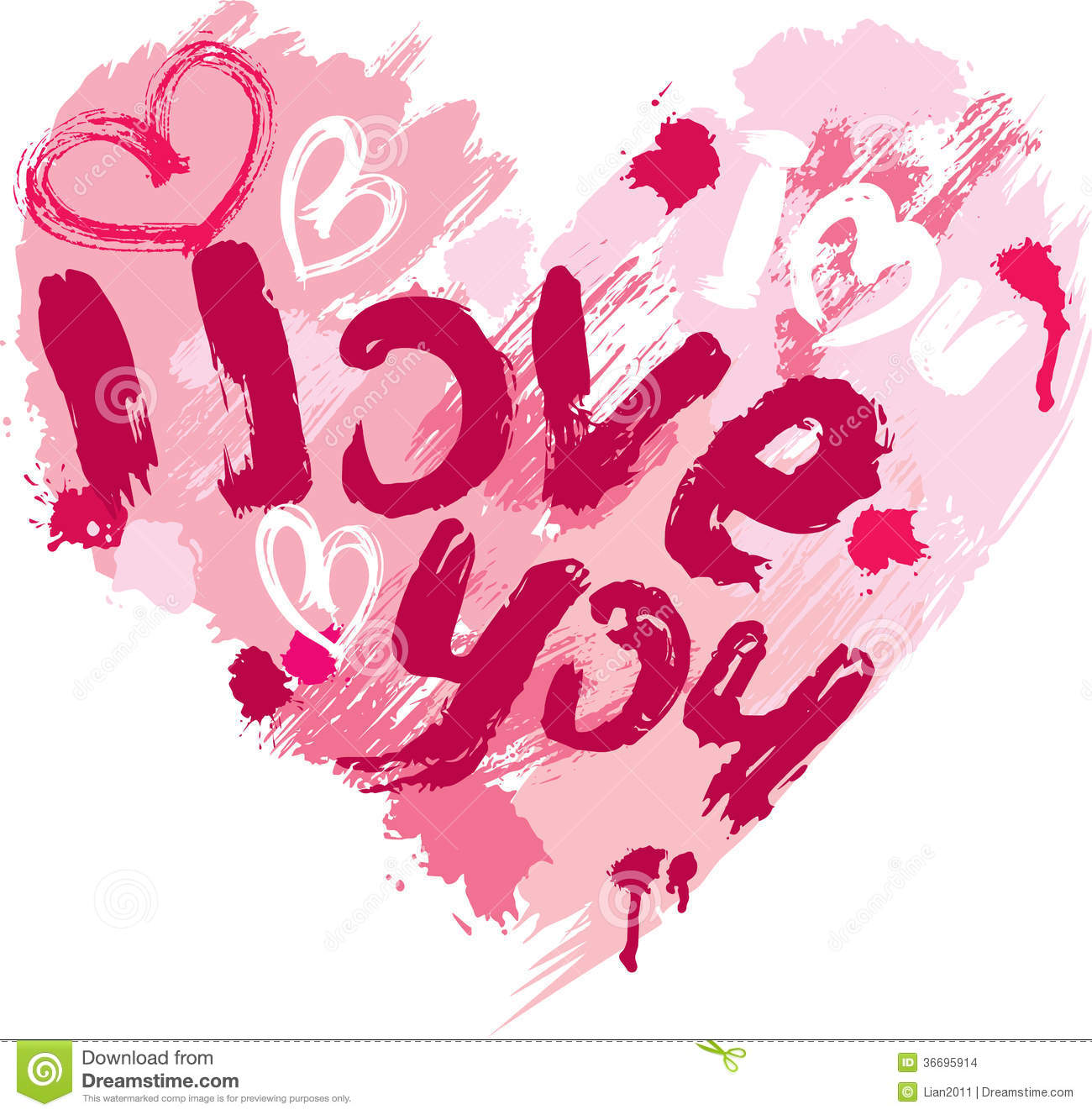 Heart shape is made of brush strokes and scribbles stock for I love design