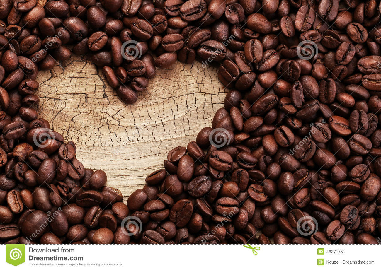 Download Heart Shape Made From Coffee Beans On Wooden Surface Stock Image - Image of best, heap: 46371751