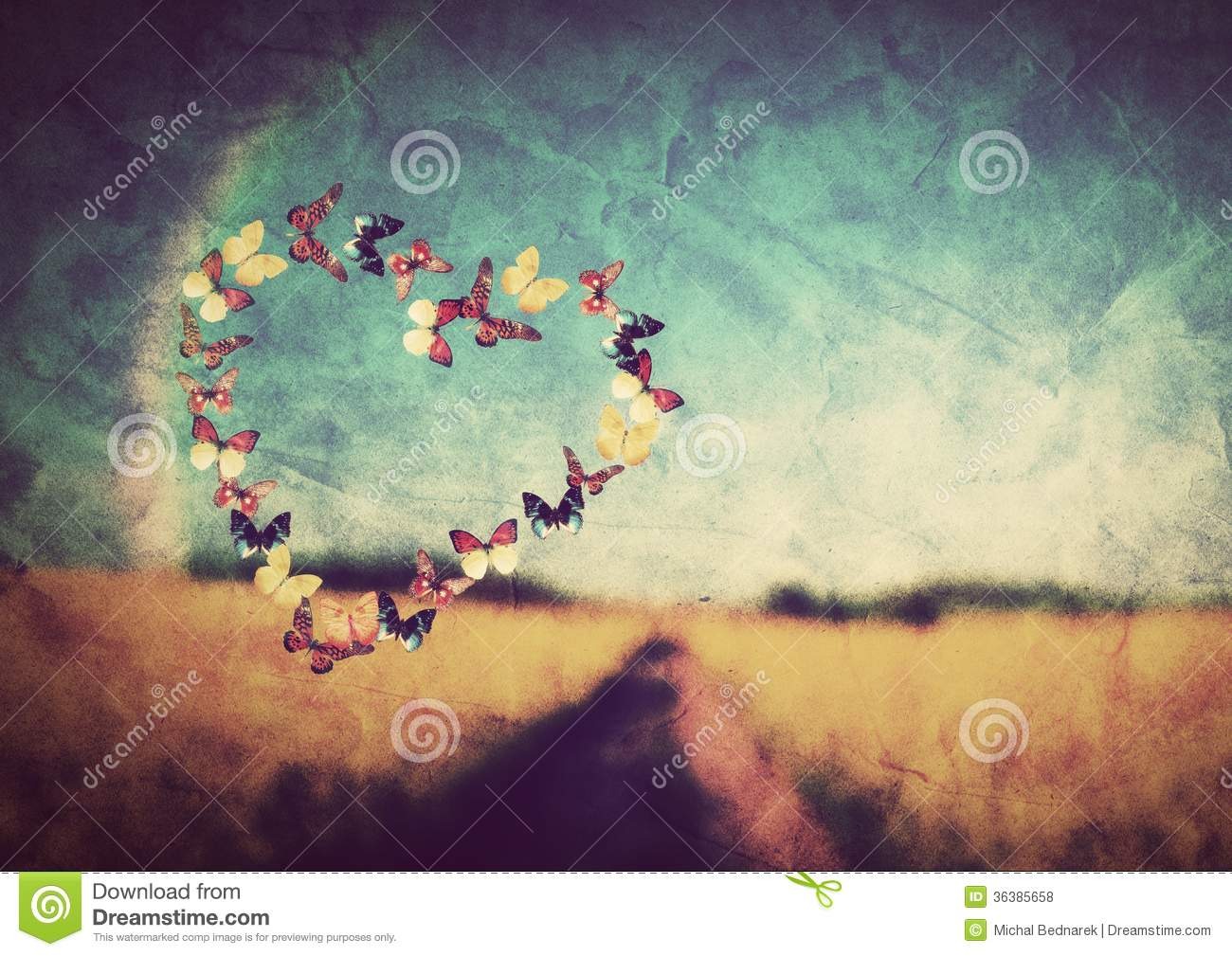Heart shape made of colorful butterflies on vintage field background ...