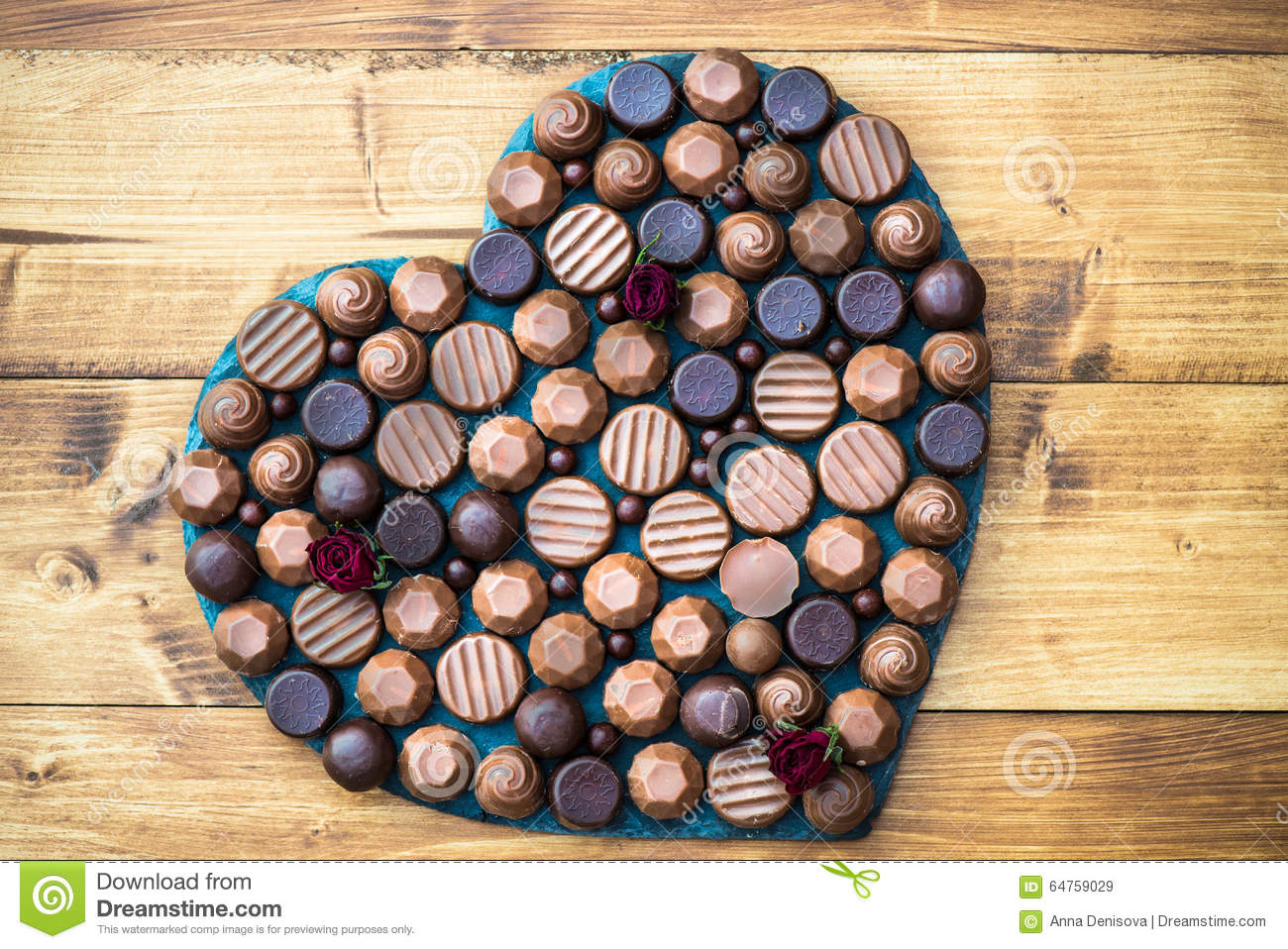 Heart Shape Made With Various Types Of Chocolate Truffles Stock ...