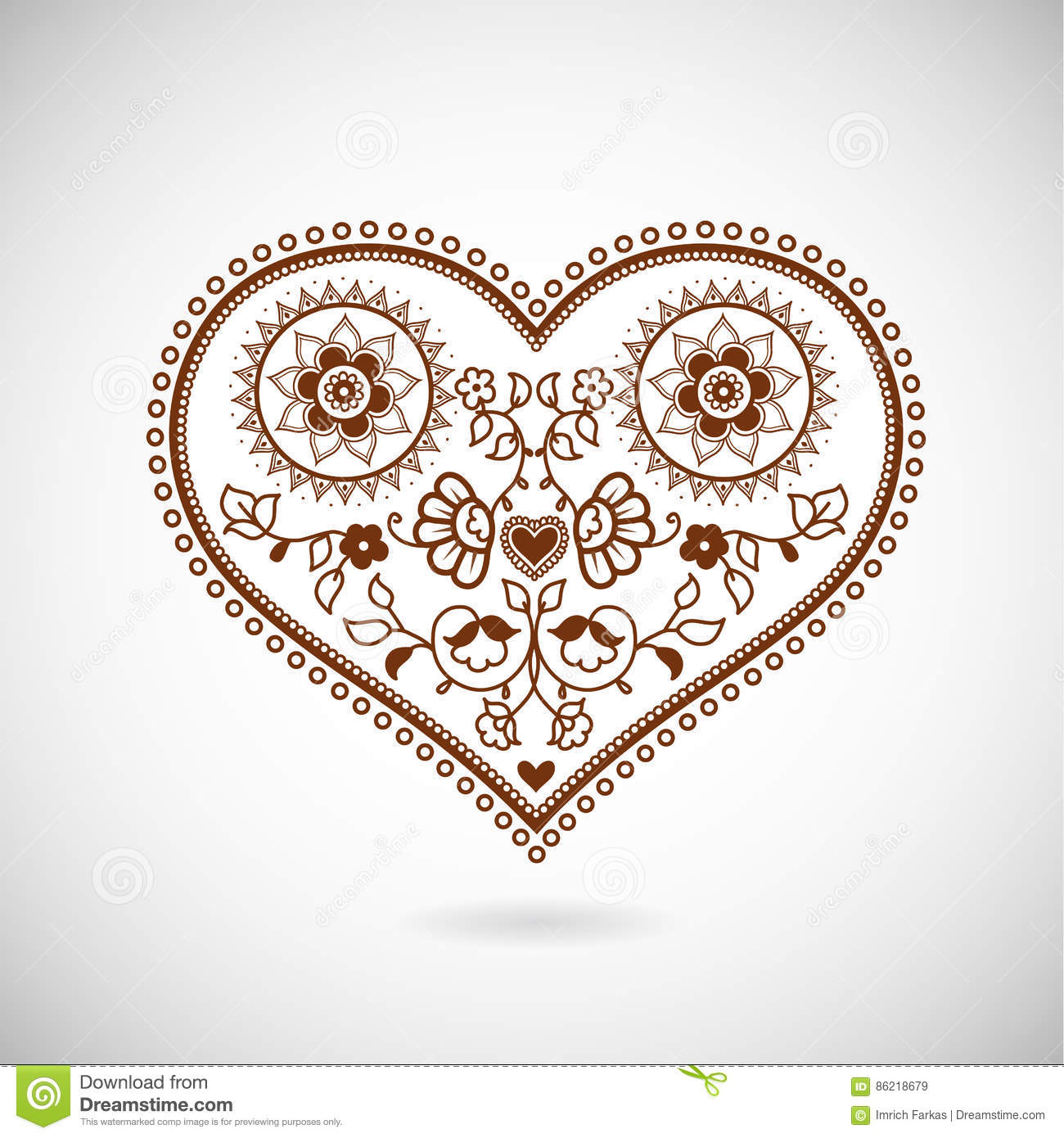 heart shape ornament illustration for valentine s day stock vector